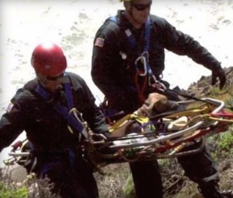 Mia, a 7-month-old puppy, was rescued by firefighters after falling from a 200-foot cliff in California.