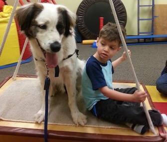 Juan, a 3-year-old mixed breed rescue dog, keeps Jayden company on a swing. The swing helps Jayden with balance, core strength and focus, among other things.