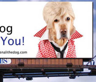 Denali the dog, dressed like Ellen DeGeneres on an LA billboard