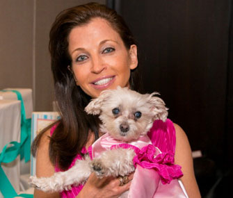 Wendy Diamond and Lucky at the dog's bridal shower.