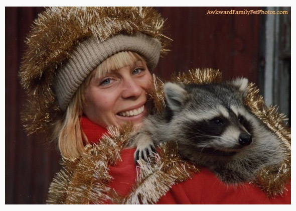 Woman and raccoon