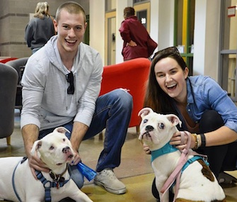 Cassidy Kraus and Brett Weyers traveled 2,000 miles with Sotiras, left, to adopt Batty, right.