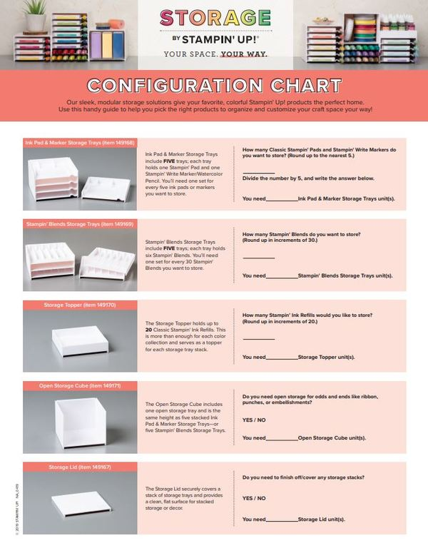 Configuration Chart for Storage by Stampin' Up!