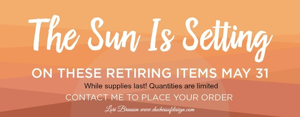 Duchess of Design setting sun retirement banner