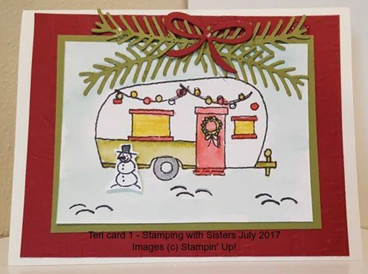 Glamper Holiday card idea by Teri K, Stamping Sister 2017