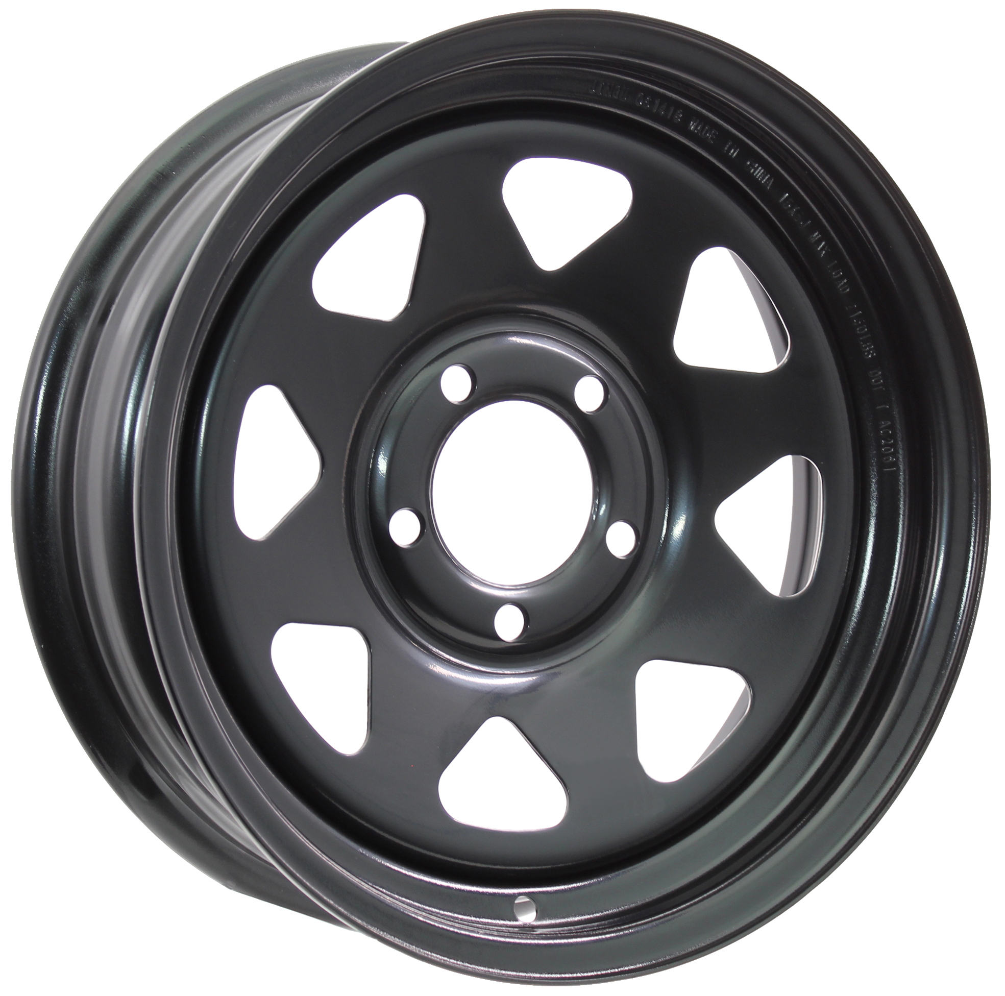 15x6 5-Lug Black Spoke Steel Trailer Wheel Image