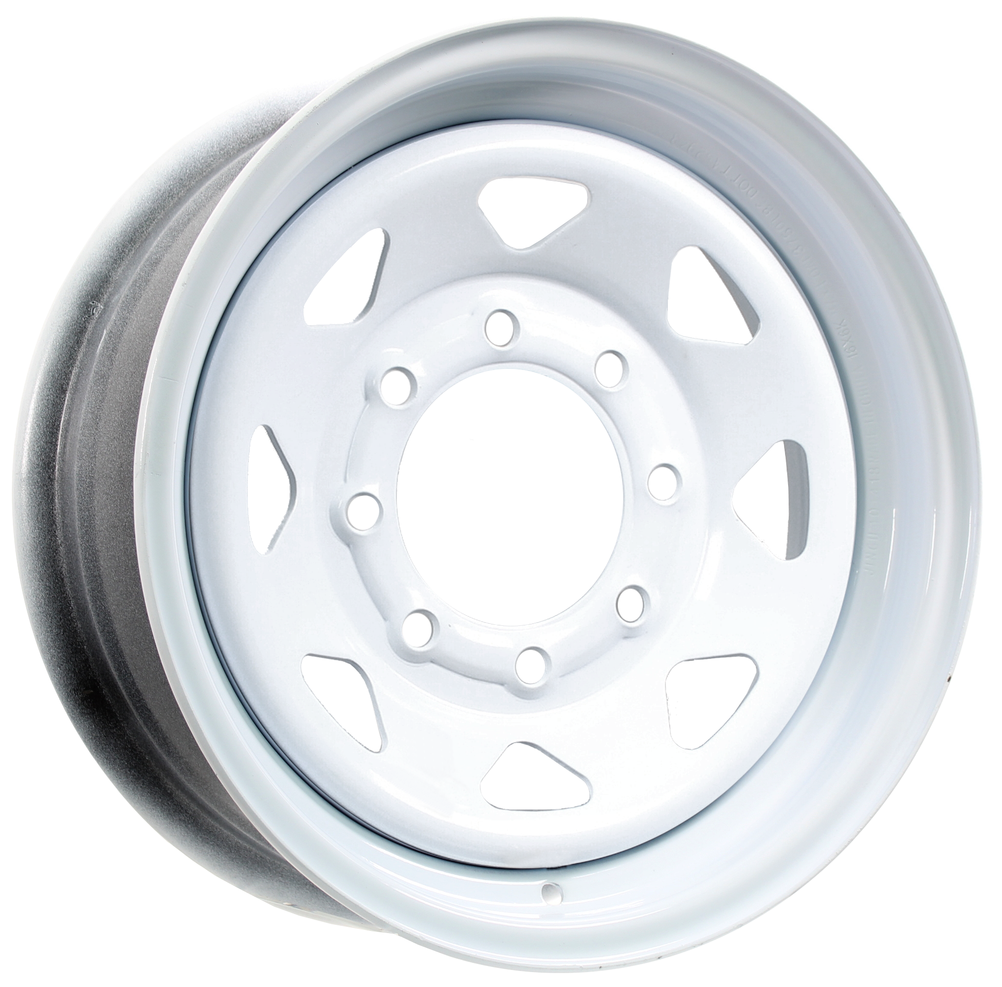 16x6 8-Lug White Spoke Steel Trailer Wheel Image