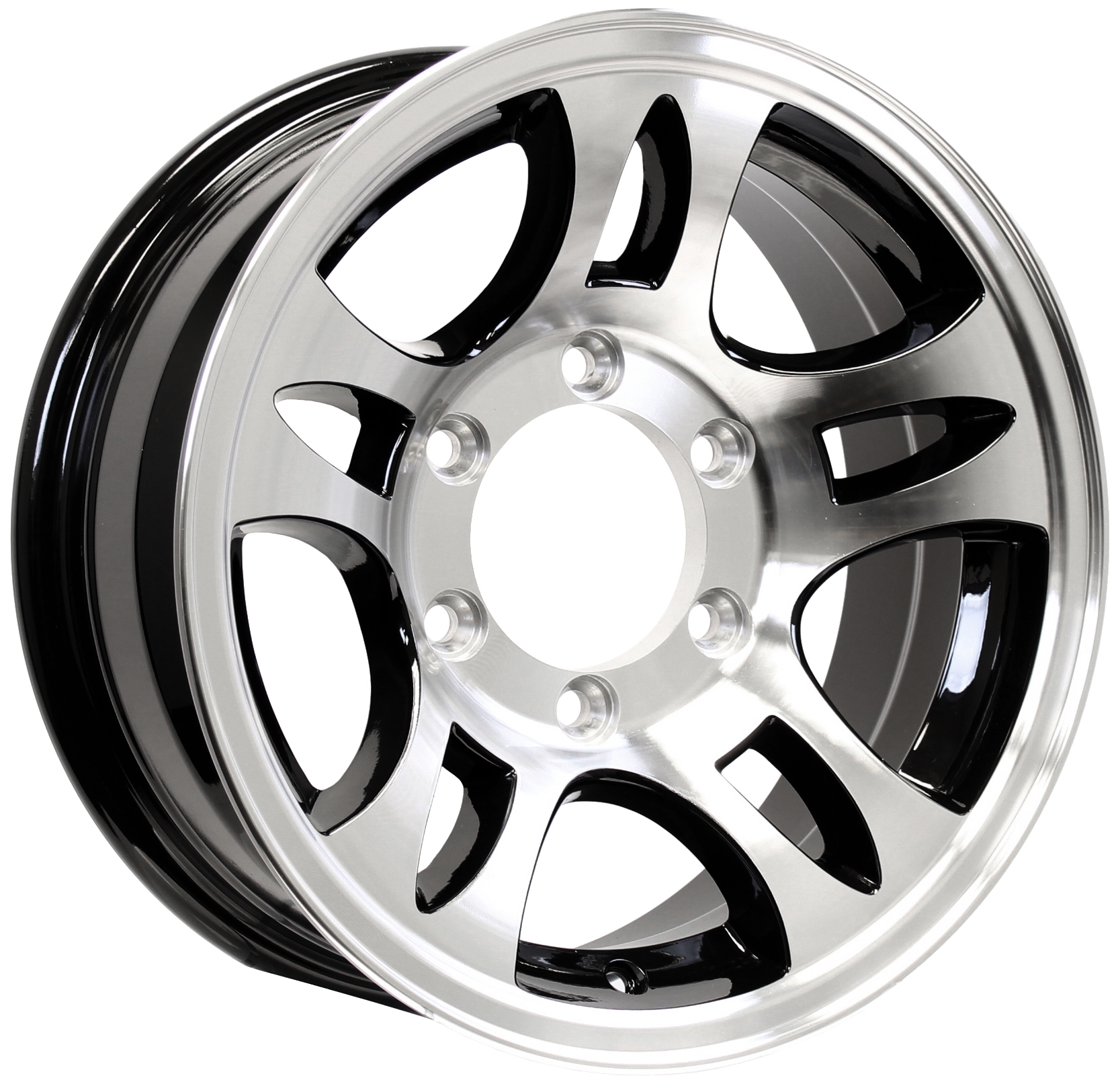 T03- 16x6; 6-Lug Black Machined Aluminum Trailer Wheel Image