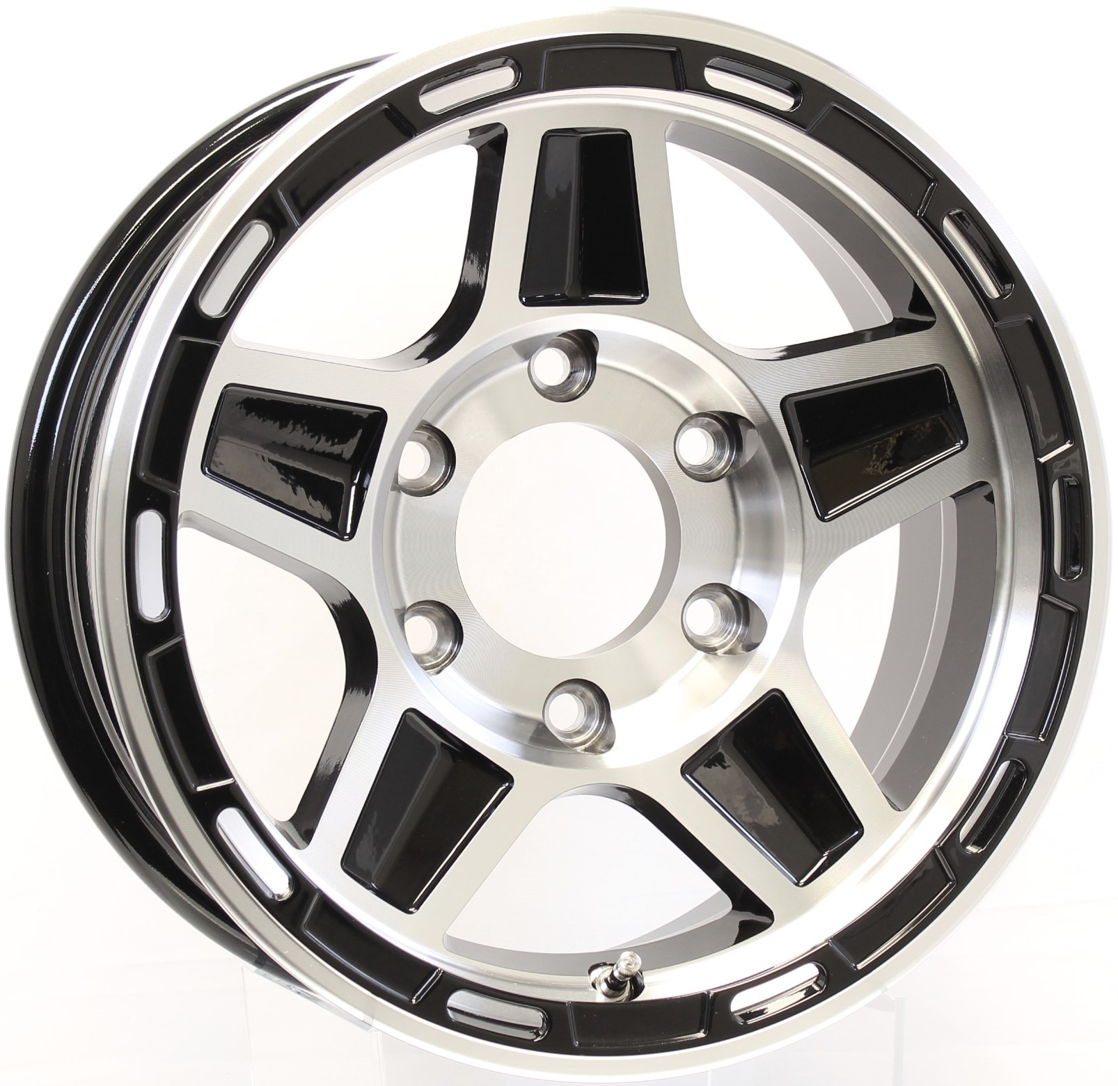 Hercules- 15x6 6-5.5 Black Aluminum Trailer Wheel Image