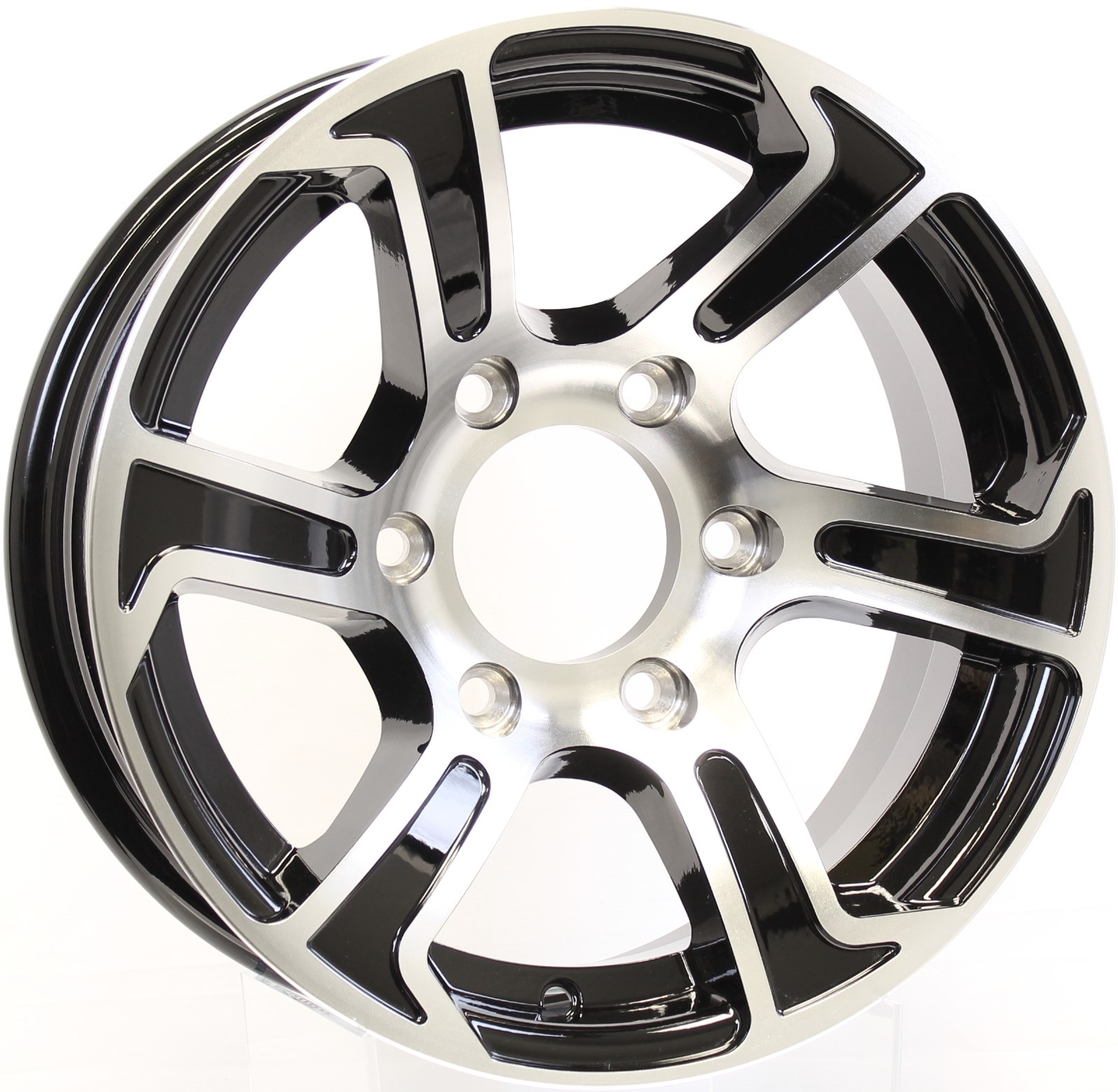 Summit- 15x6 6-5.5 Black Aluminum Trailer Wheel Image
