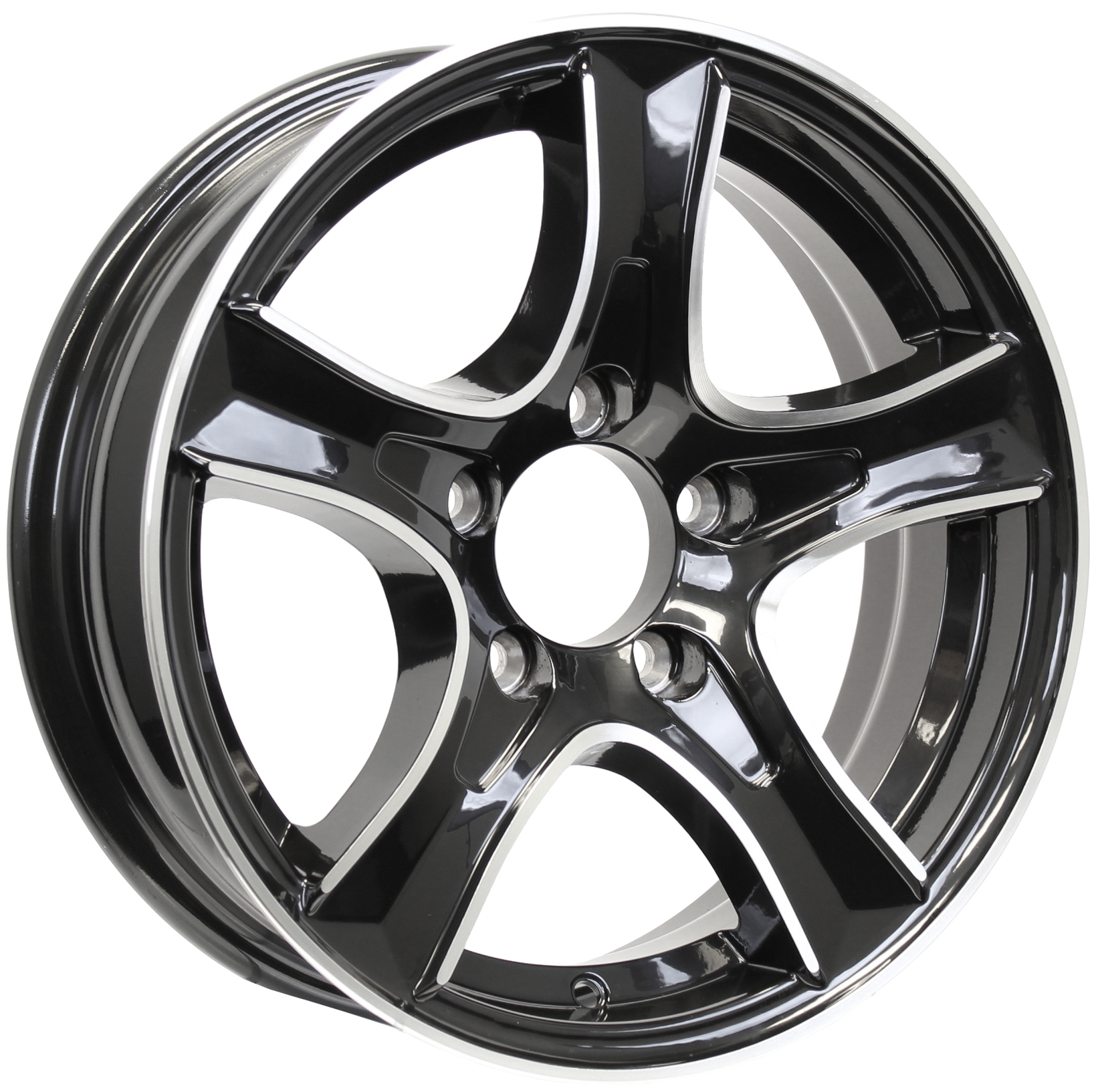 Thoroughbred 15x5 5-Lug Black Aluminum Trailer Wheel Image