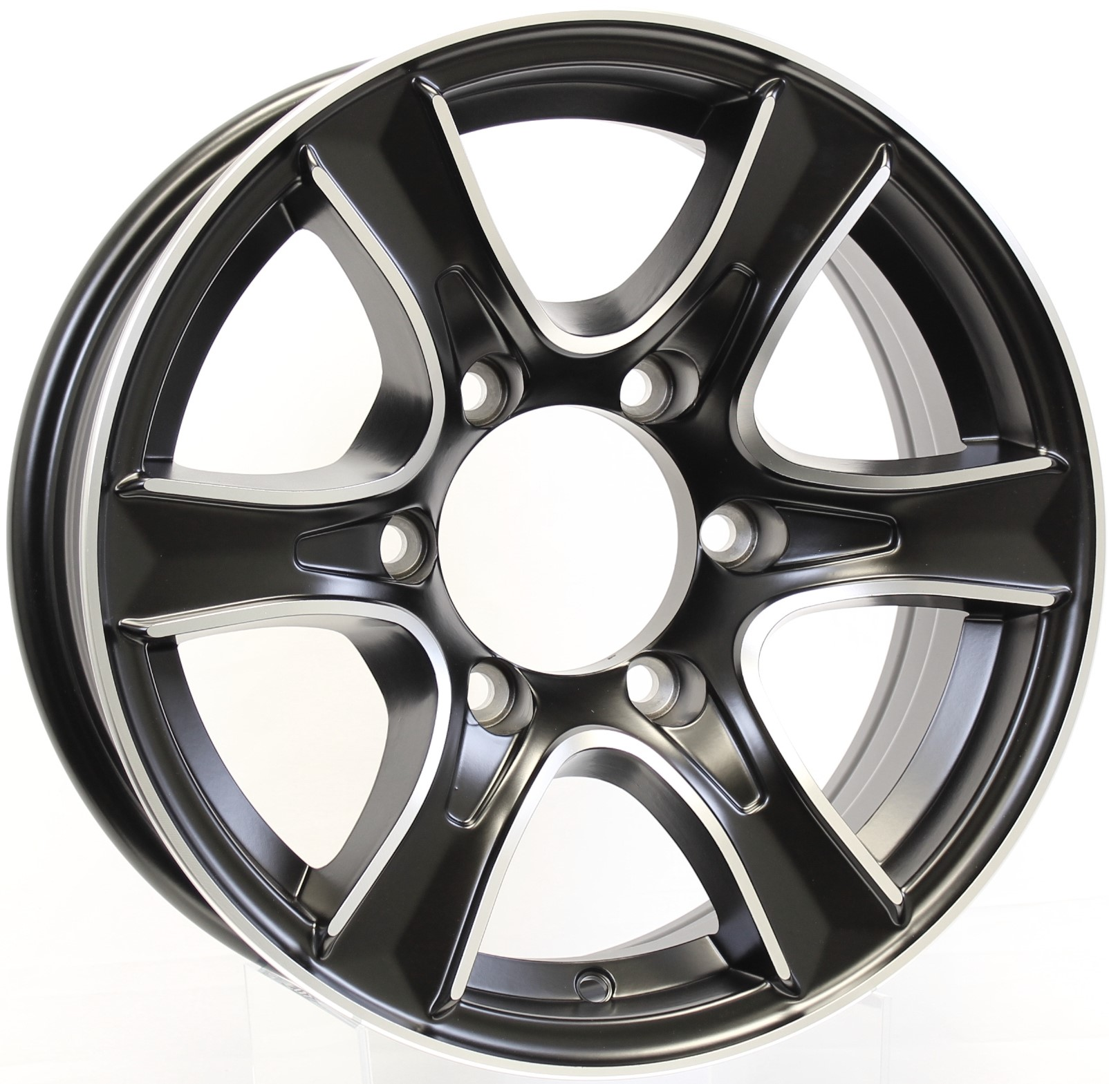 Thoroughbred 15x6 6-5.5  Matte Black Aluminum Trailer Wheel Image
