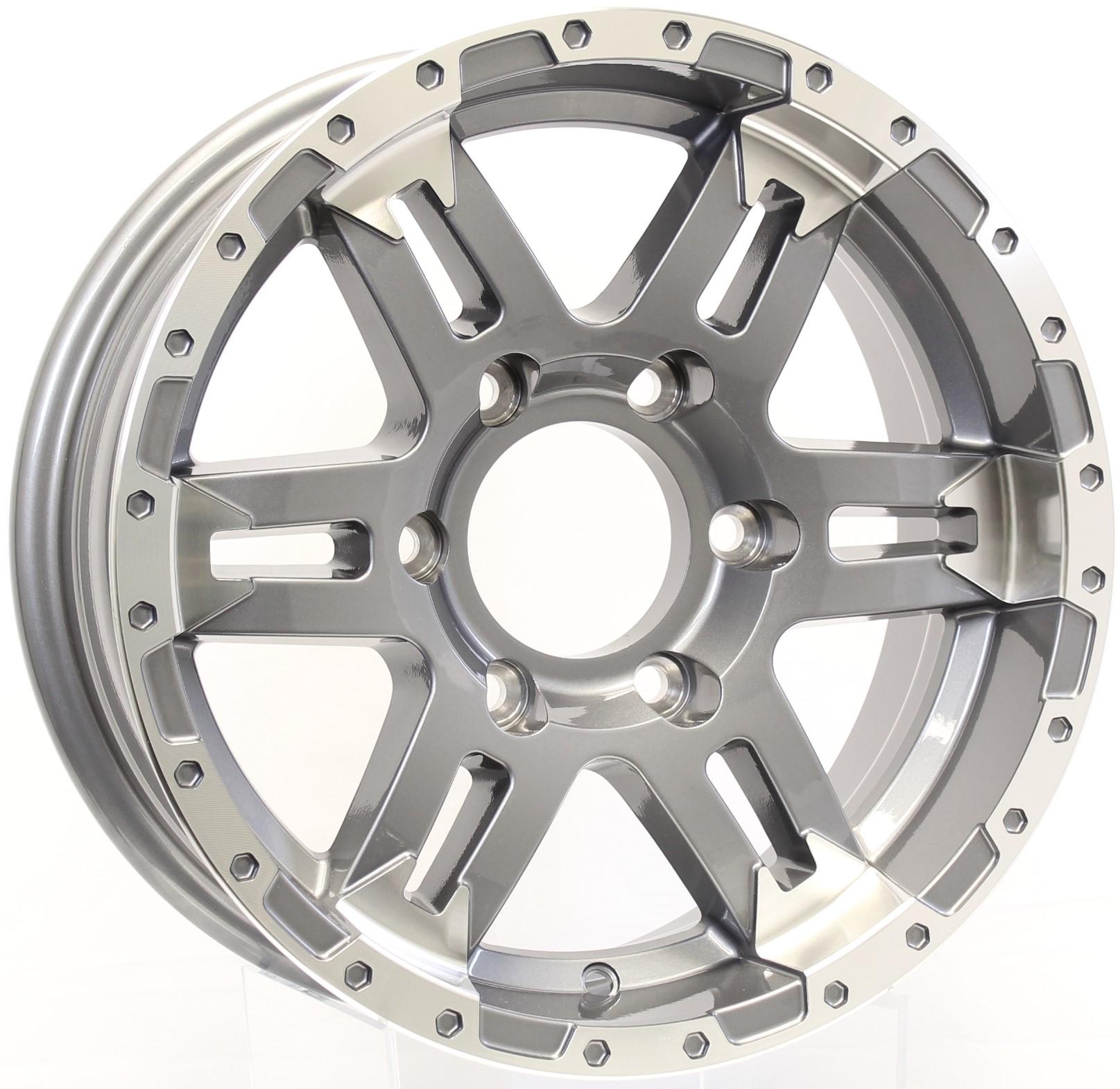 Turismo- 15x6 6-5.5 Gunmetal Aluminum Trailer Wheel Image