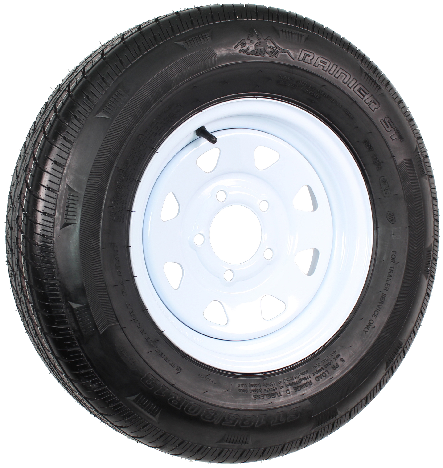 "Rainier ST185/80R13 LRD Radial on 13"" 5-Lug White Spoke Assembly Image"
