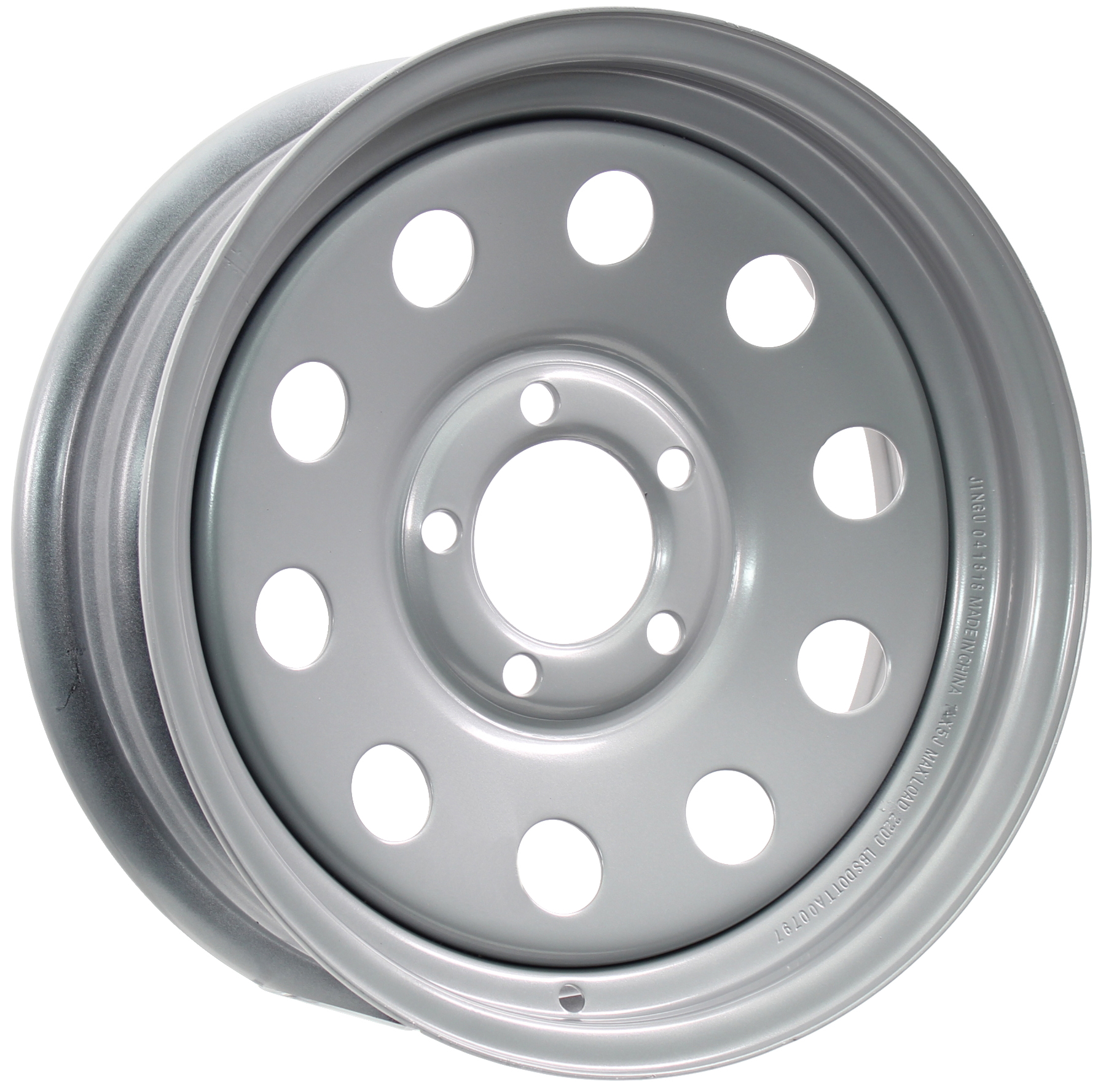 14x5.5 5-Lug Silver Mod Steel Trailer Wheel Image