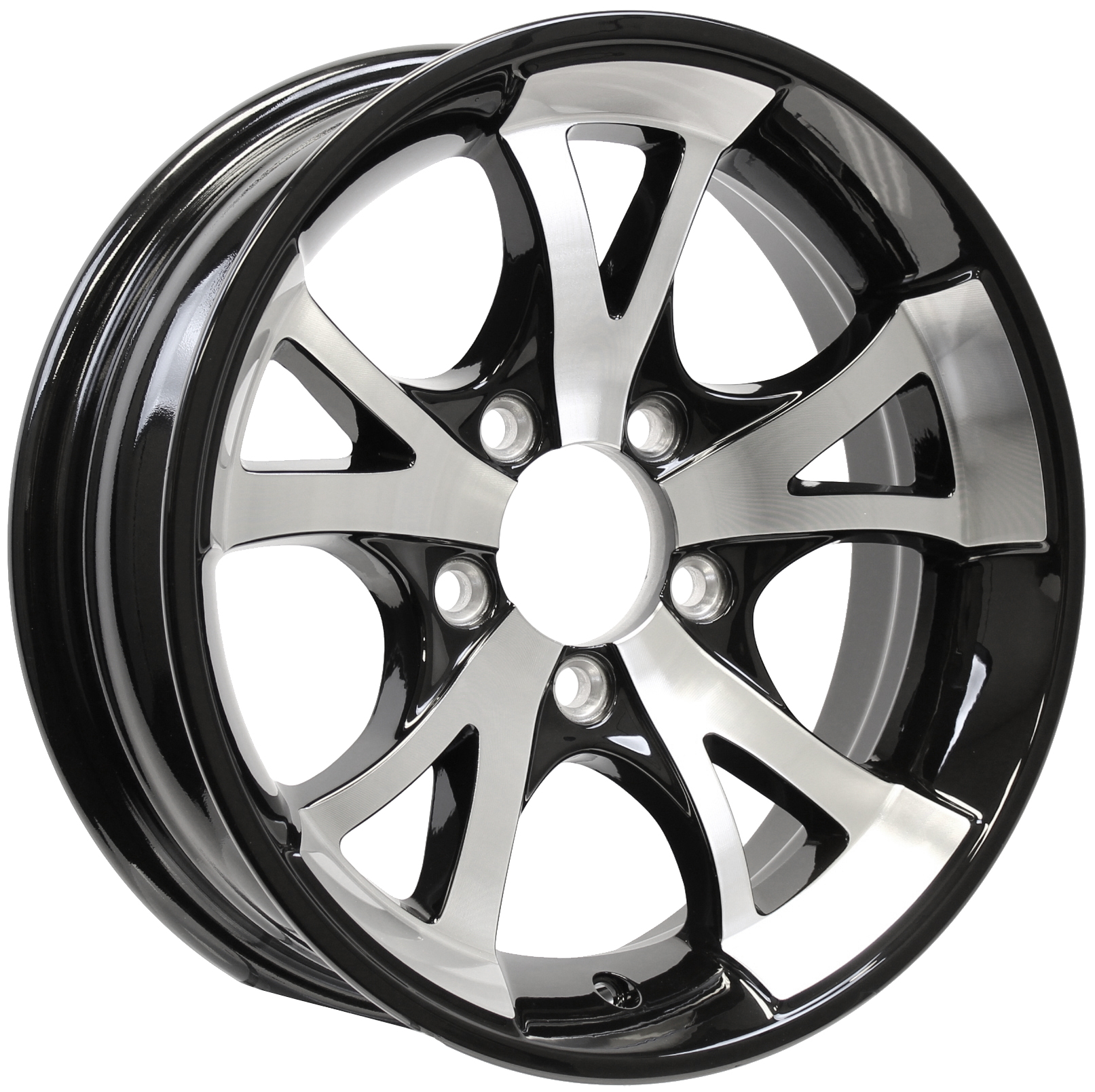 A1411 15x5 5-Lug Black Aluminum Trailer Wheel Image