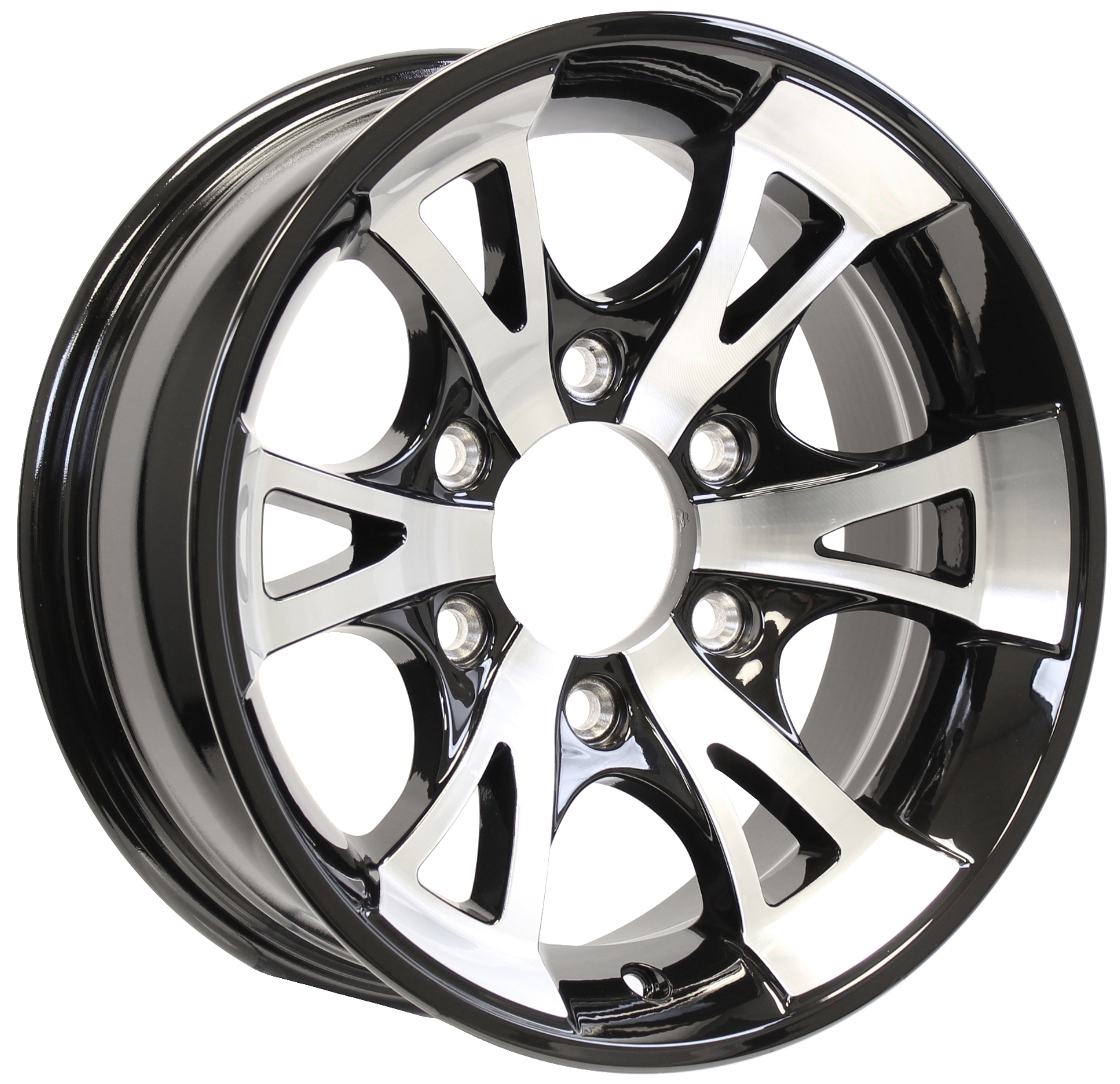 A1411- 15x6 6-5.5 Black Aluminum Trailer Wheel Image