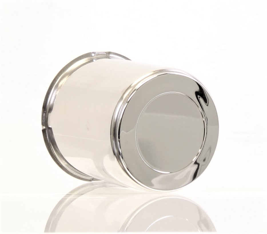 "3.19"" Stainless Steel Center Cap with Chrome Plug Insert Image"