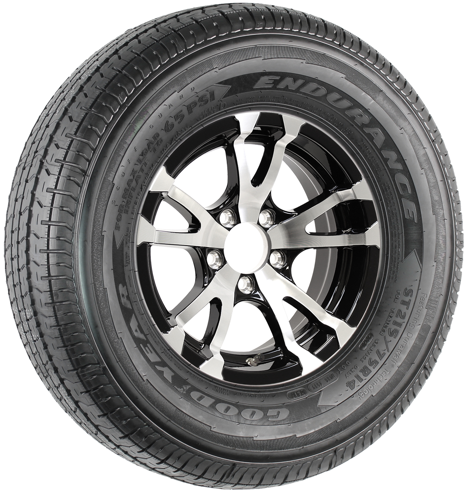 "Goodyear Endurance ST215/75R14 LRD Radial Tire on 14"" 5-Lug Avalanche Black Aluminum Assembly Image"