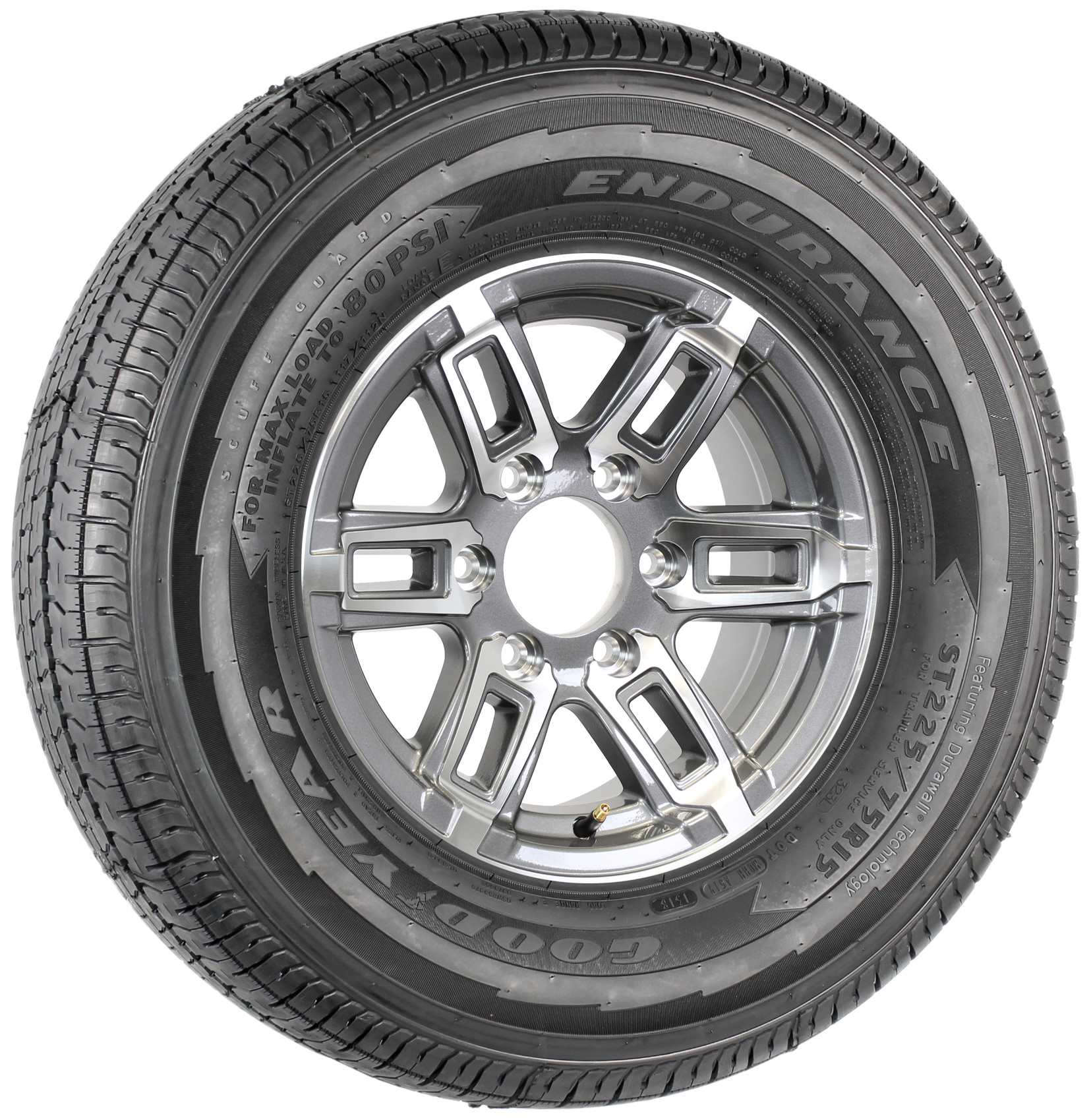 "Goodyear Endurance ST225/75R15 LRE Radial Tire on T06 15"" 6-Lug Gun Metal Aluminum Wheel Assembly Image"