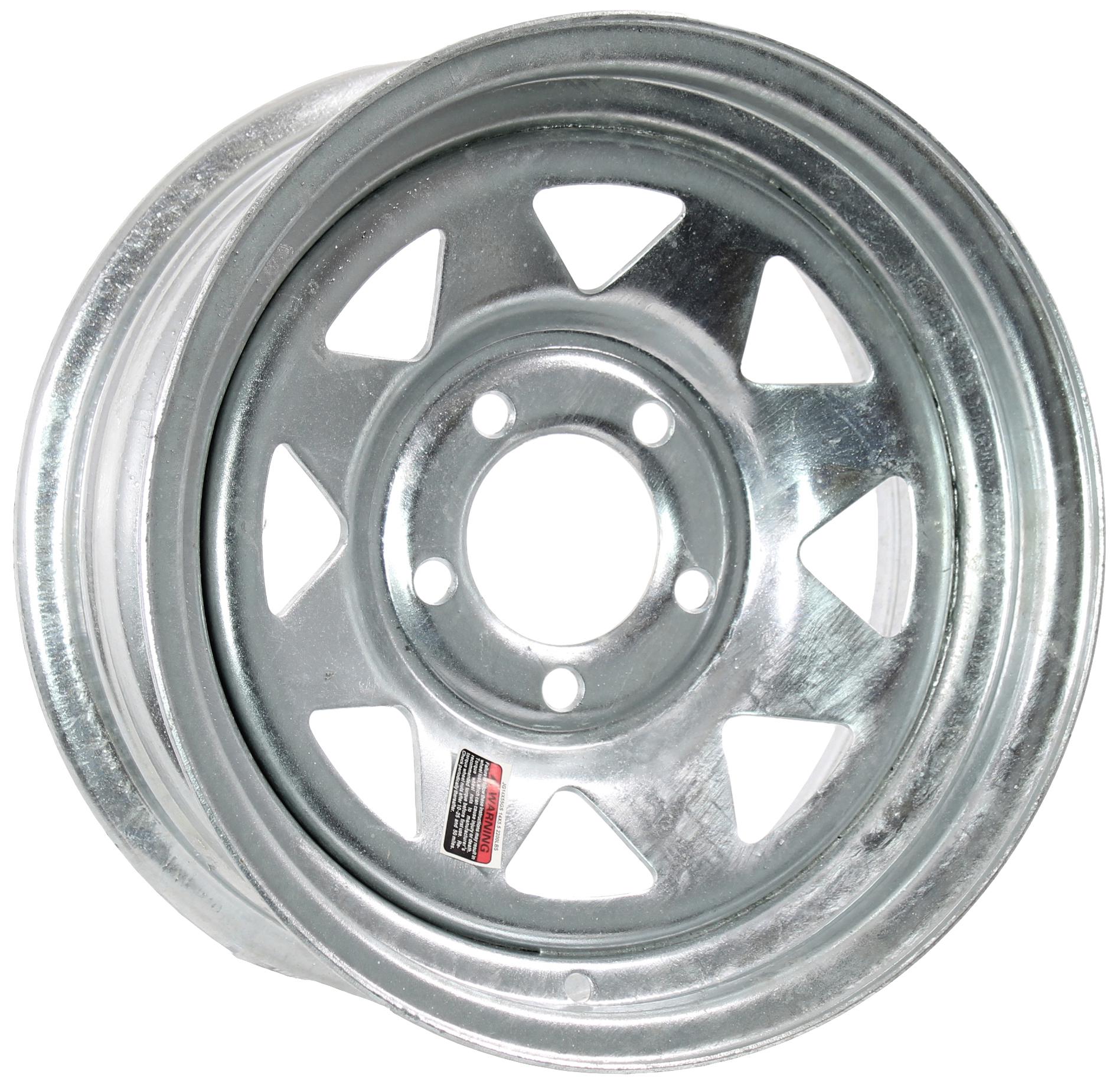 14x5.5 5-Lug Galvanized Spoke Steel Trailer Wheel Image