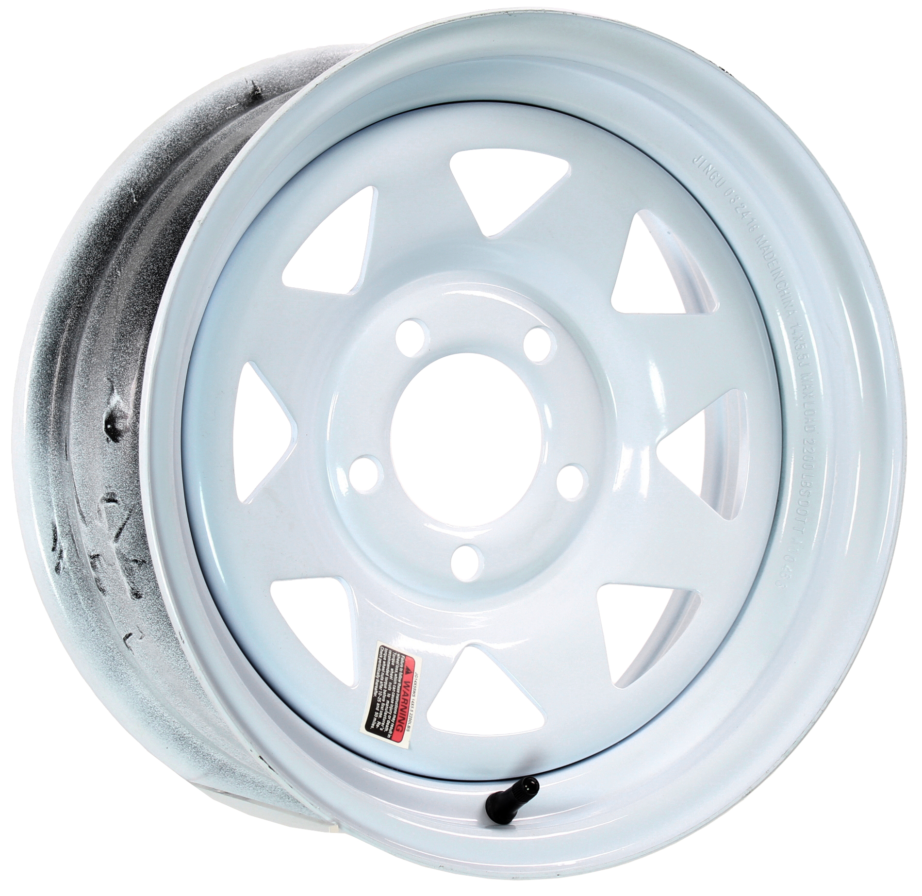 14x5.5 5-Lug White Spoke Steel Trailer Wheel Image