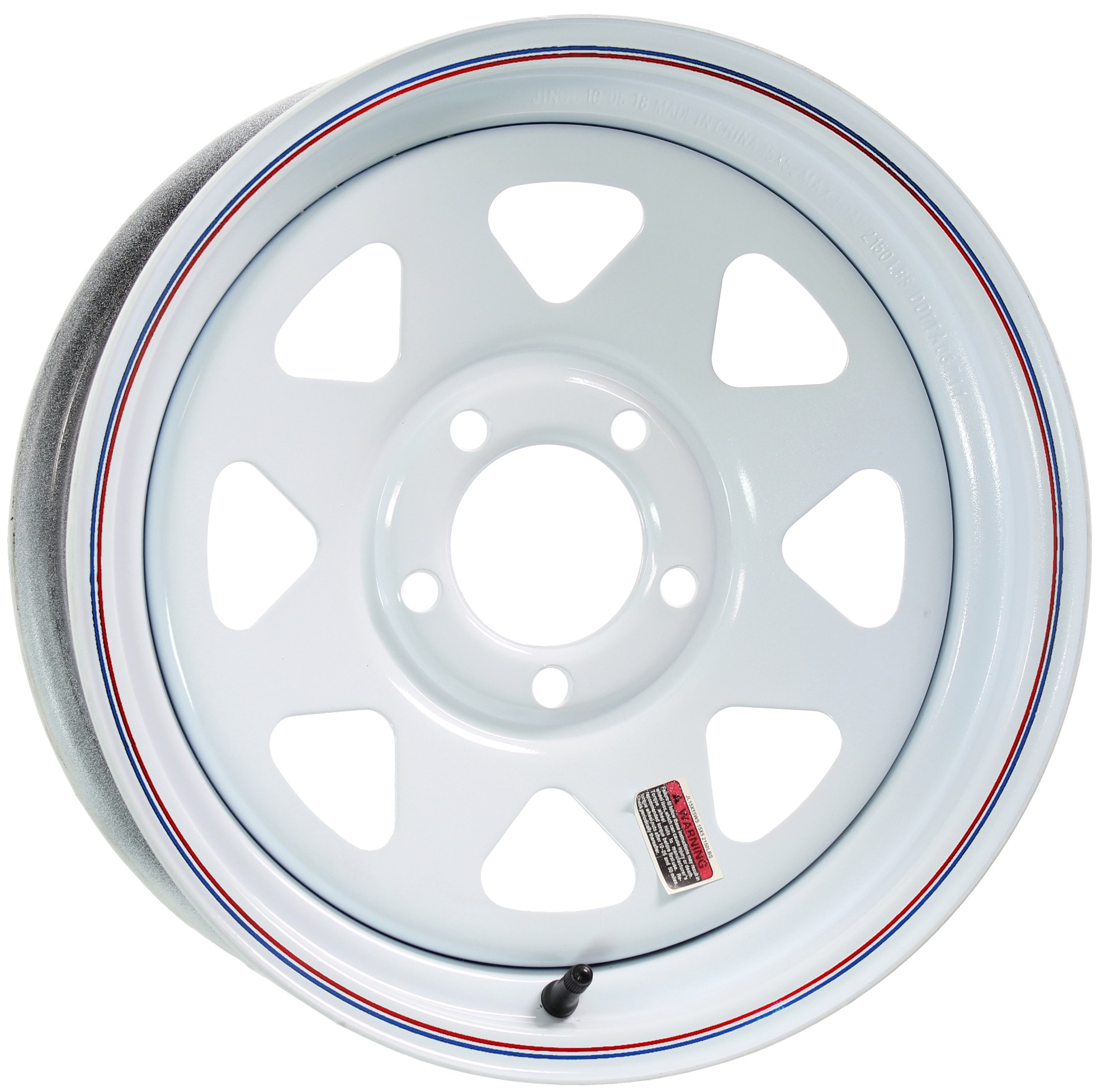 15x5 5 on 4.75, White Spoke with Stripes Steel Trailer Wheel Image
