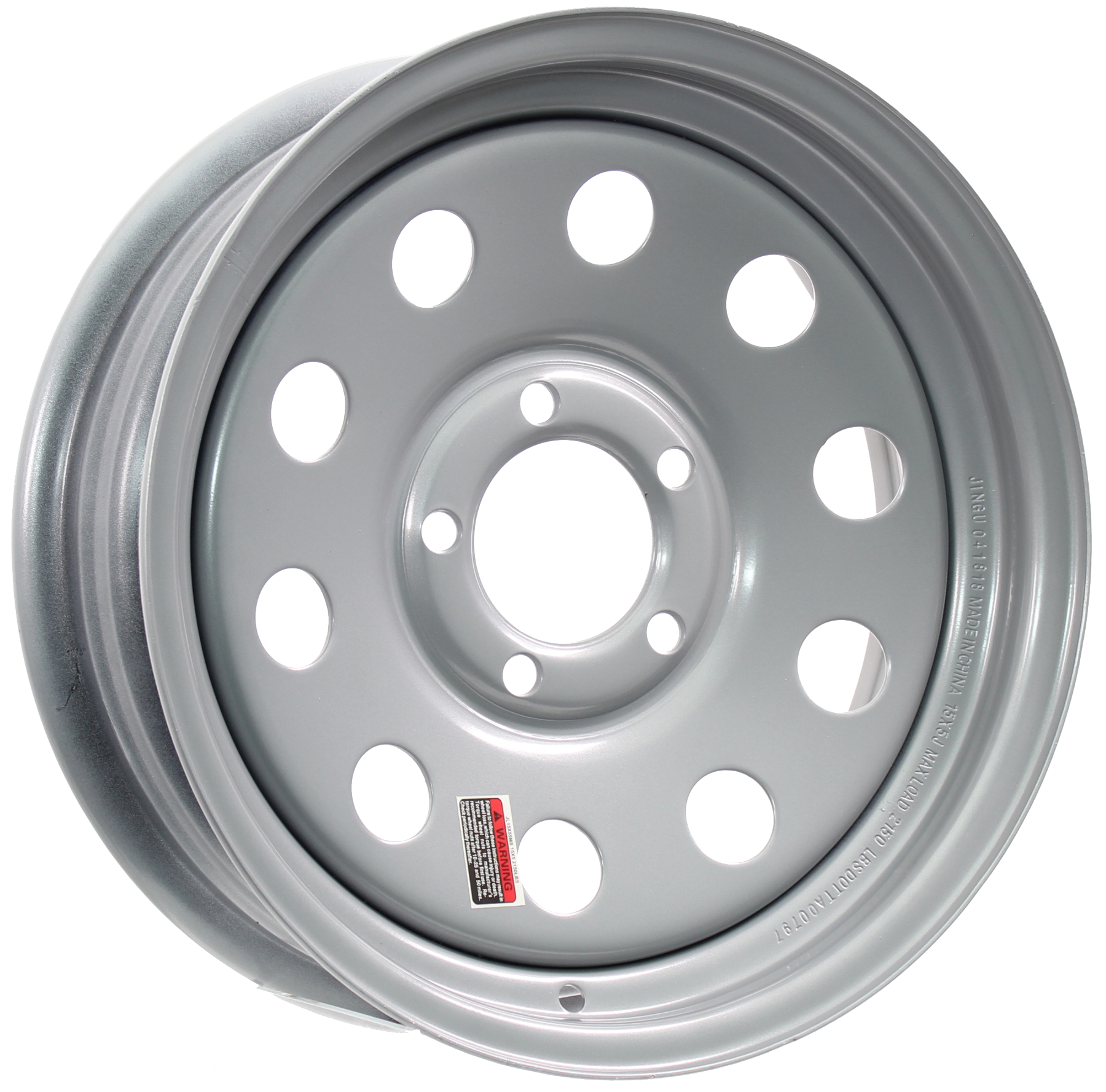 15x6 5-Lug Silver Mod Steel Trailer Wheel Image