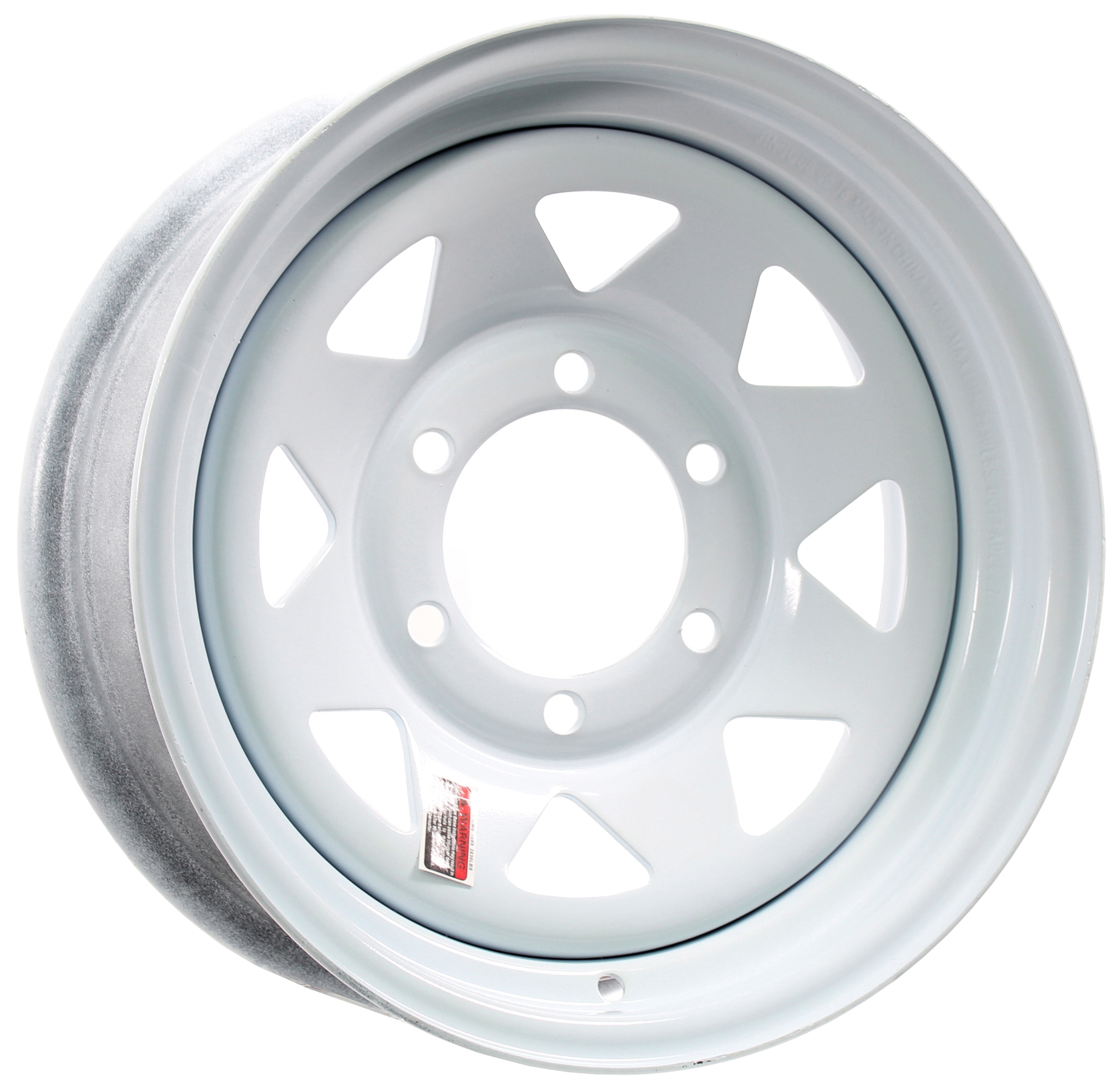 15x6 6-Lug White Spoke Steel Trailer Wheel Image