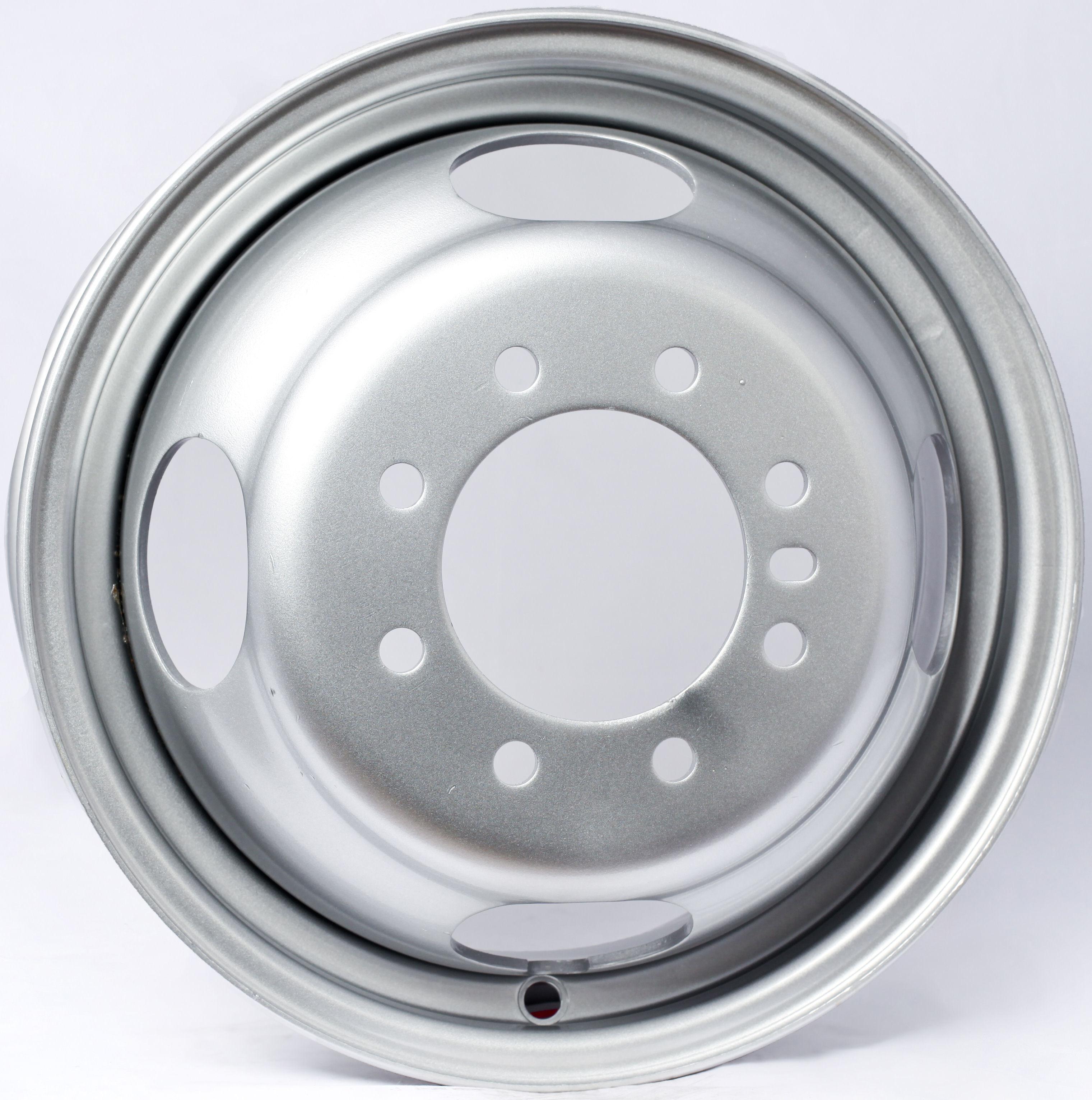 16x6 8-Lug Silver Dual Steel Trailer Wheel- 4.77 Center Bore Image