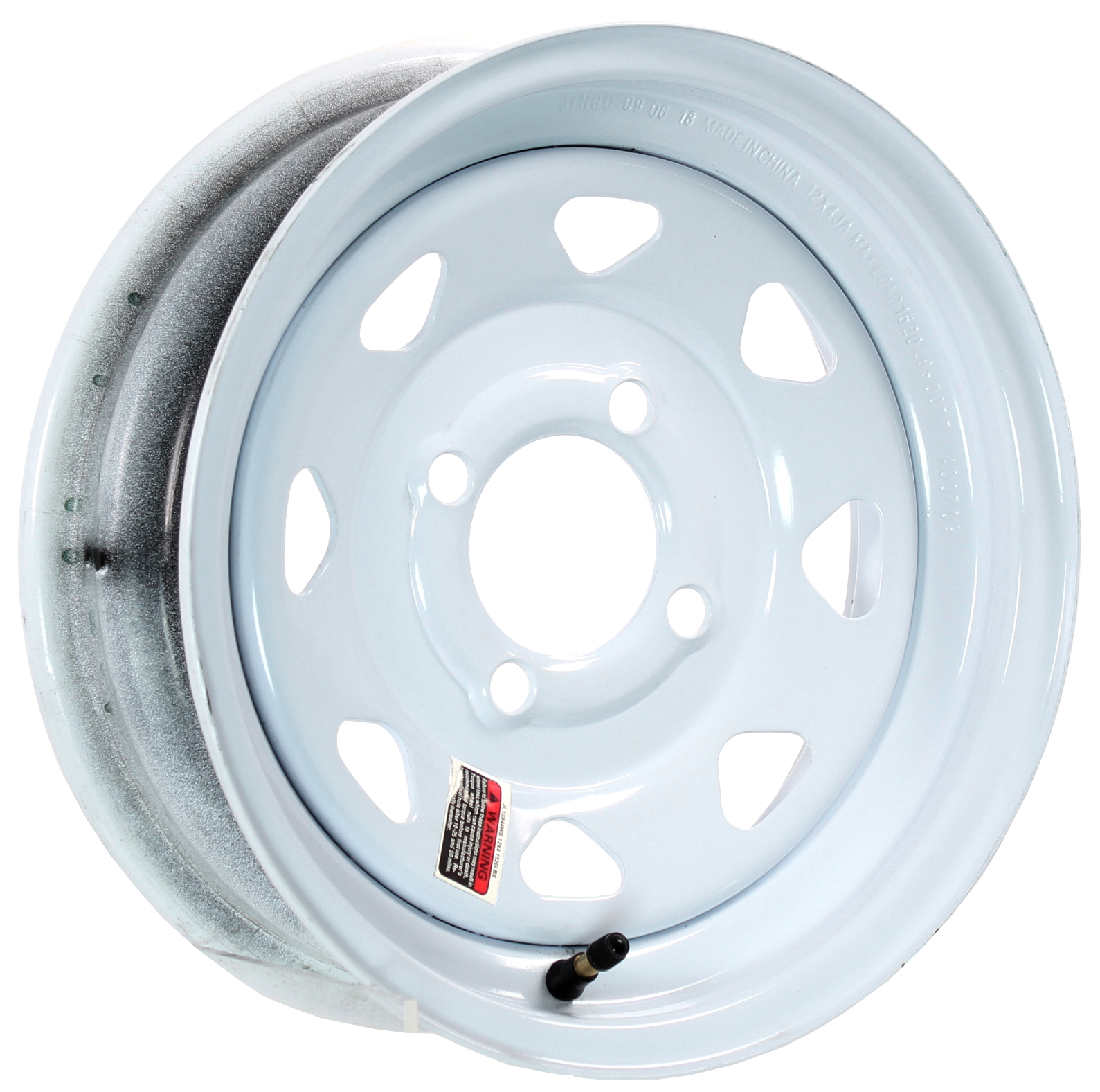 12x4 4-Lug White Spoke Steel Trailer Wheel Image