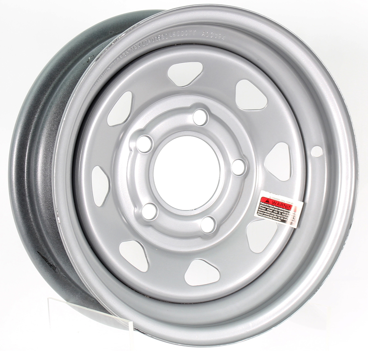 12X4 5-Lug Silver Spoke Steel Trailer Wheel Image