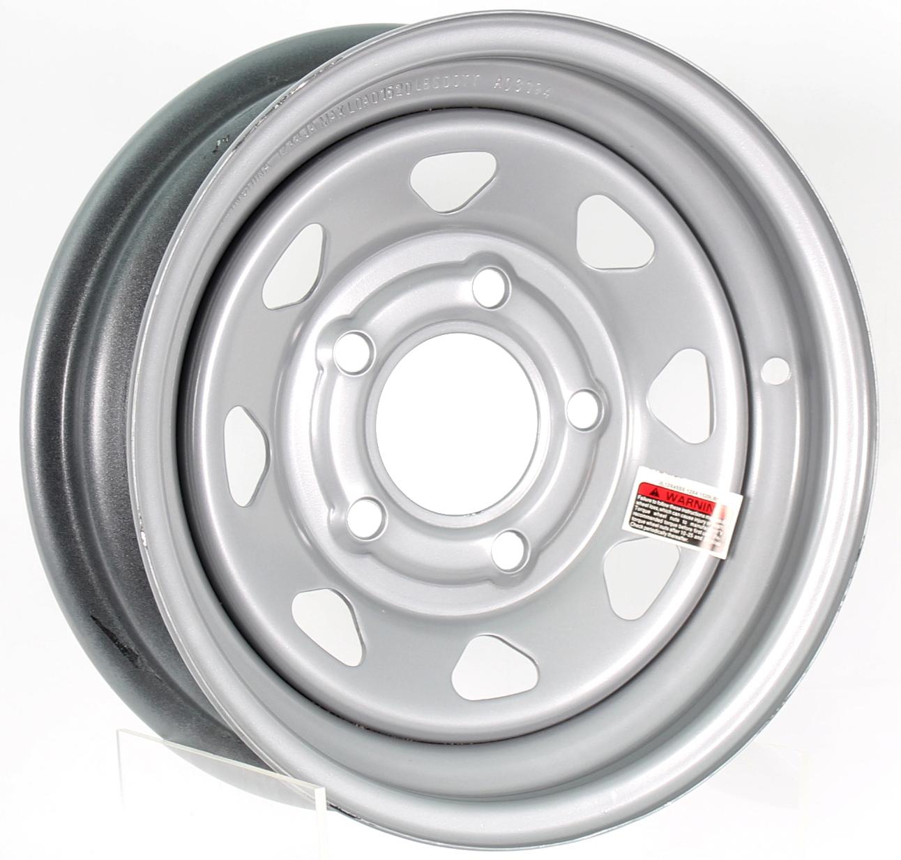 12X4 5-Lug Silver Spoke Steel Trailer Wheel Image