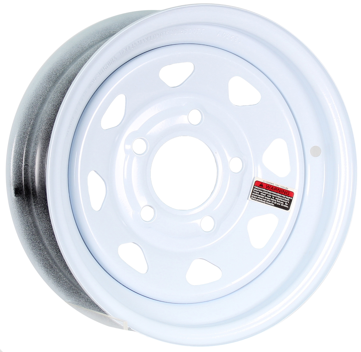 12x4 5-Lug White Spoke Steel Trailer Wheel Image