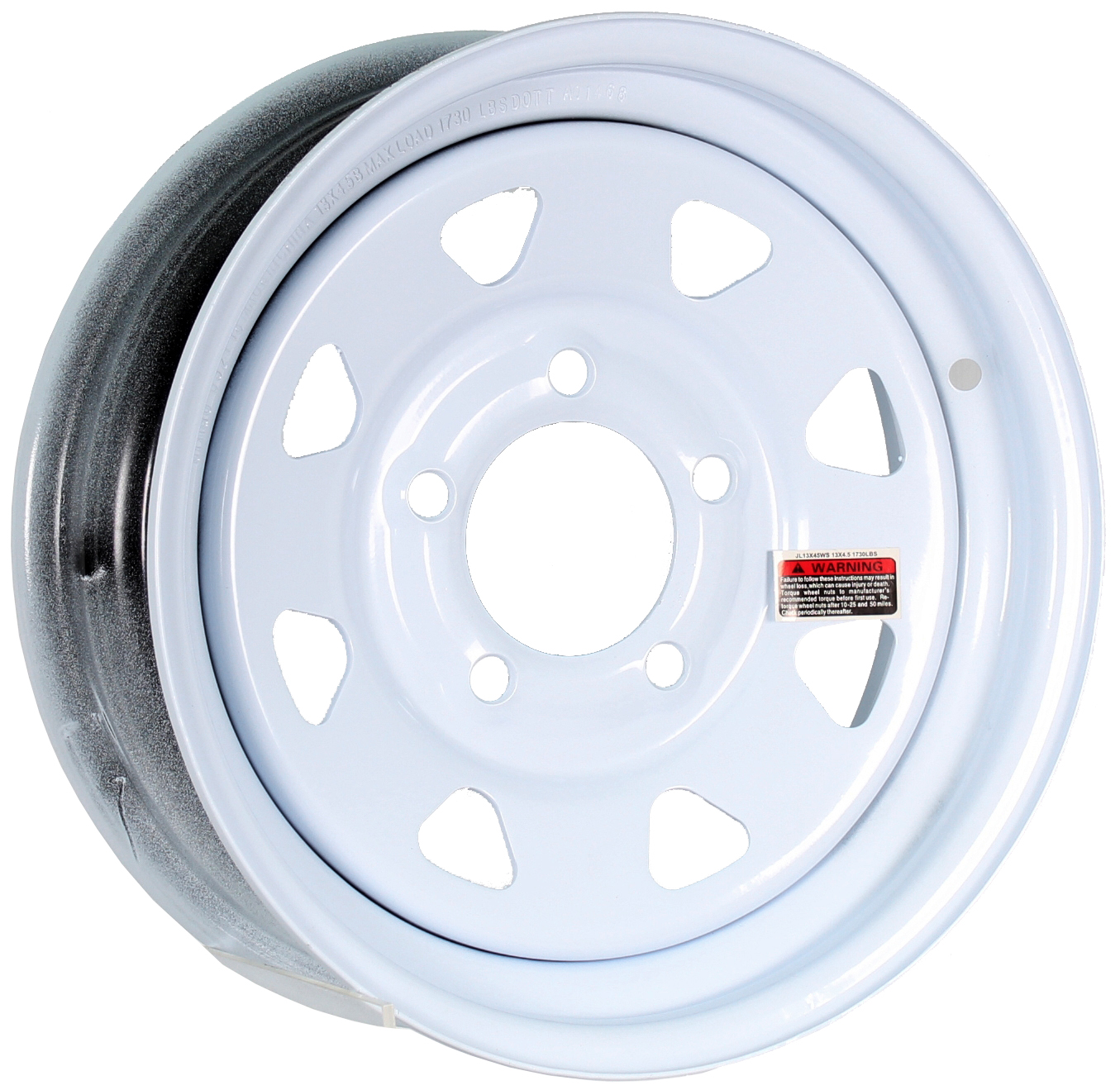 13x4.5 5-Lug White Spoke Steel Trailer Wheel Image