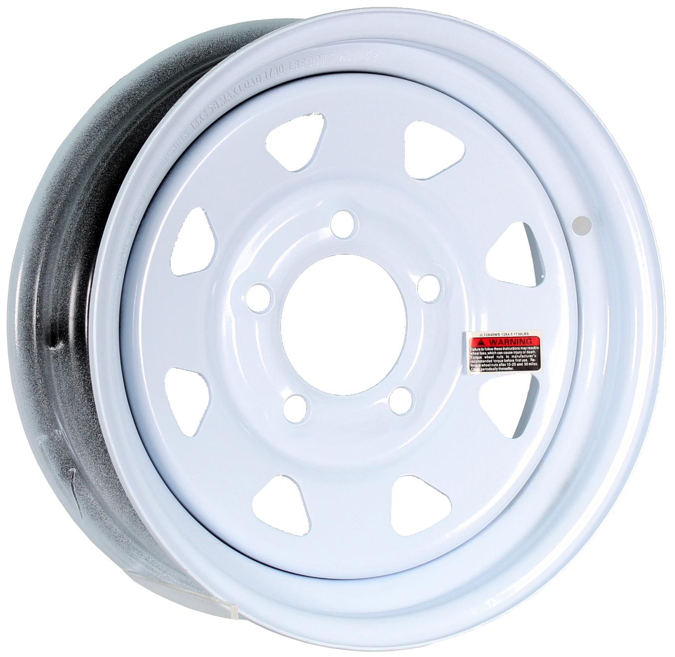 13x4.5 5-Lug White Spoke Steel Trailer Wheel Image