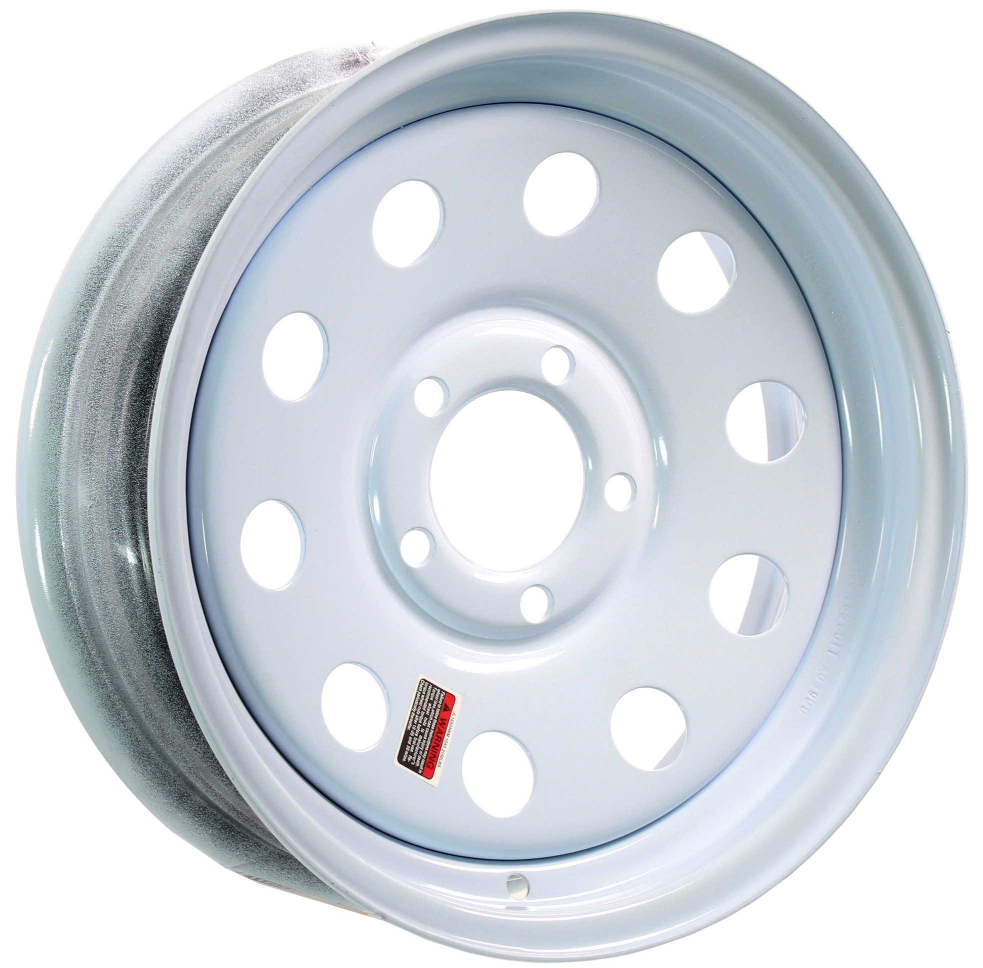 15x5 5-Lug White Mod Steel Trailer Wheel Image