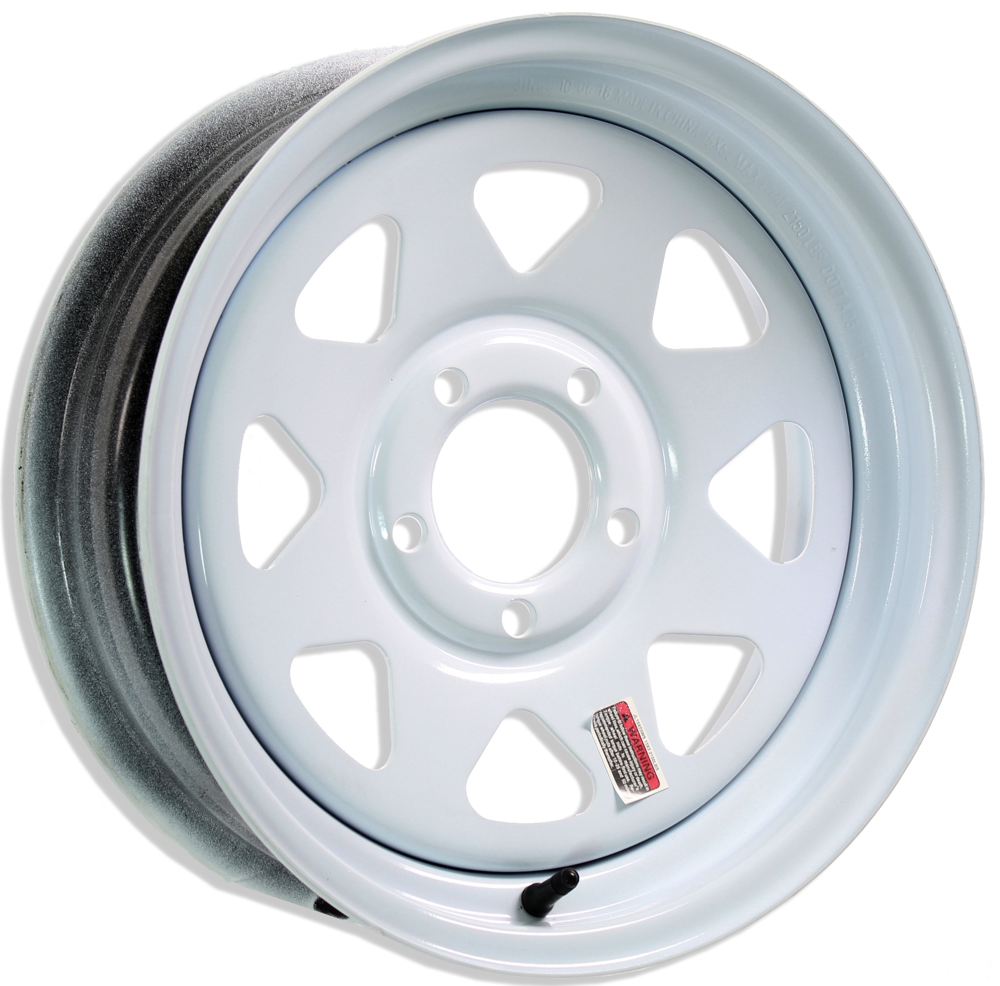 15x5 5-Lug White Spoke Steel Trailer Wheel Image