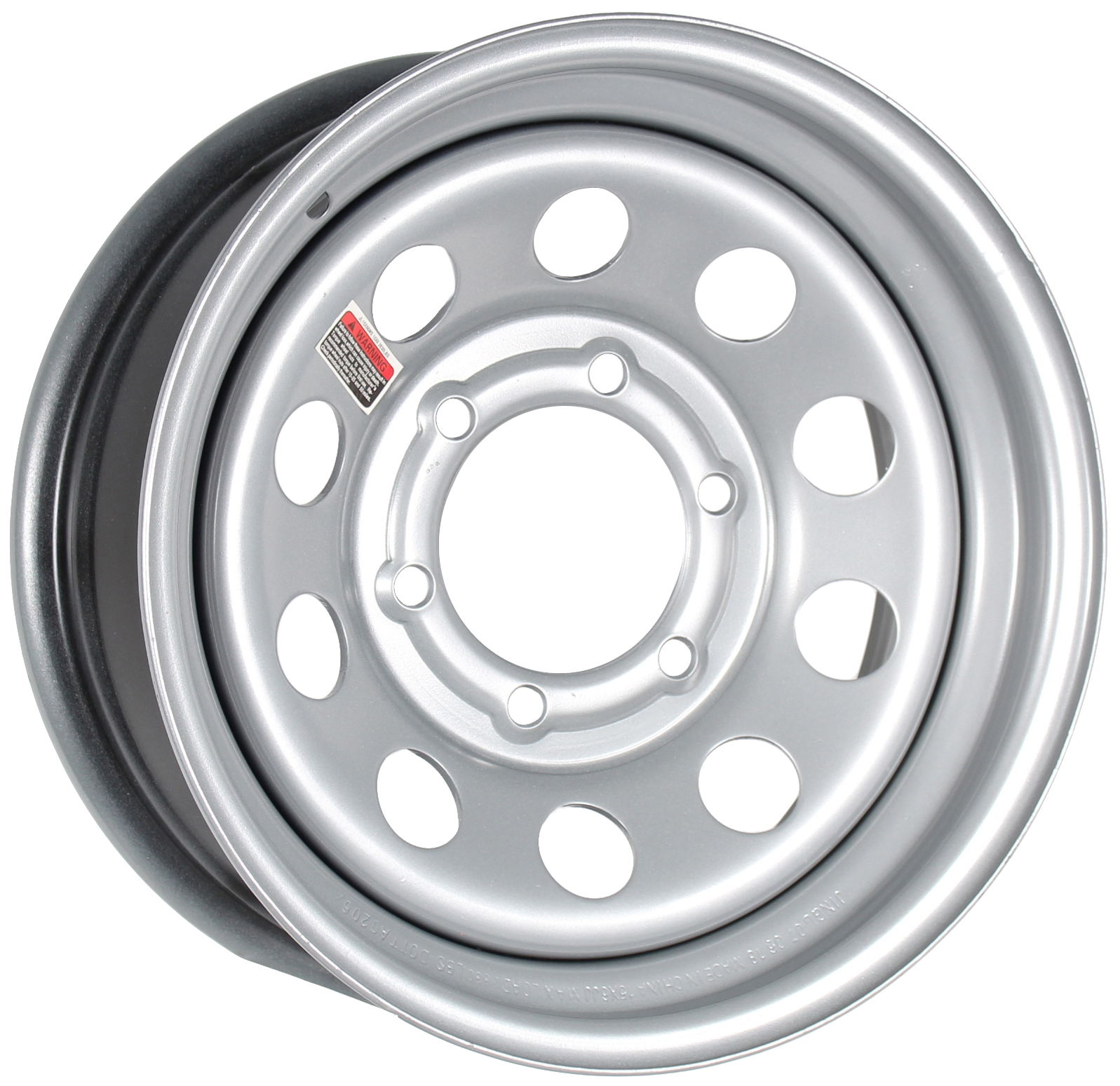 15x6 6-Lug Silver Mod Steel Trailer Wheel Image