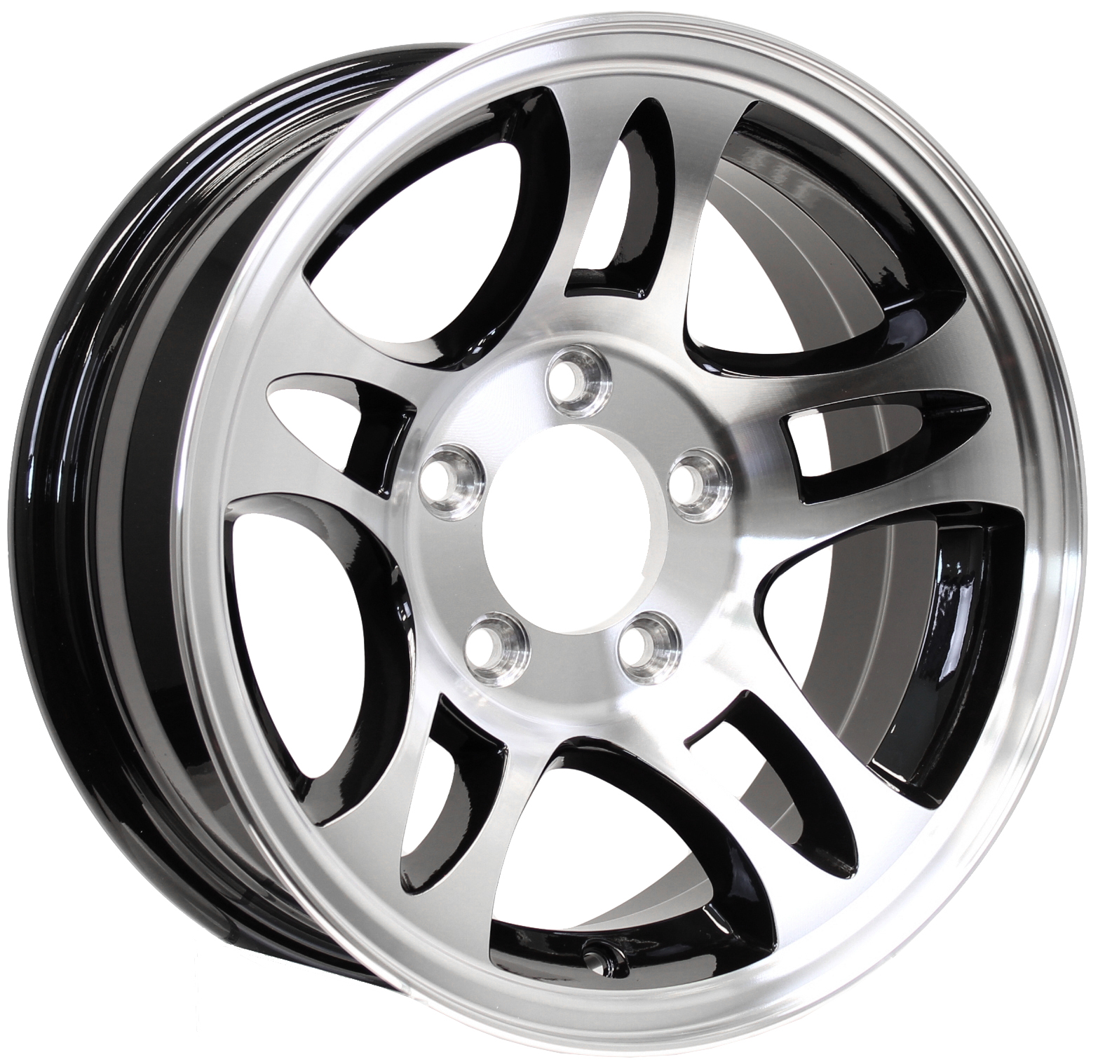 T03 15x5 5-Lug Black Machine Aluminum Trailer Wheel Image