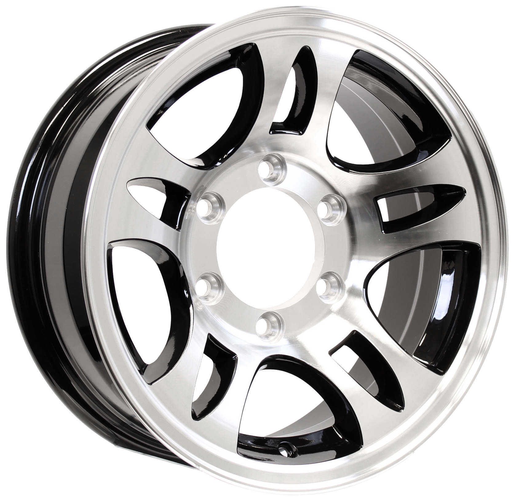 "T03 15"" 6-Lug Black Aluminum Trailer Wheel Image"