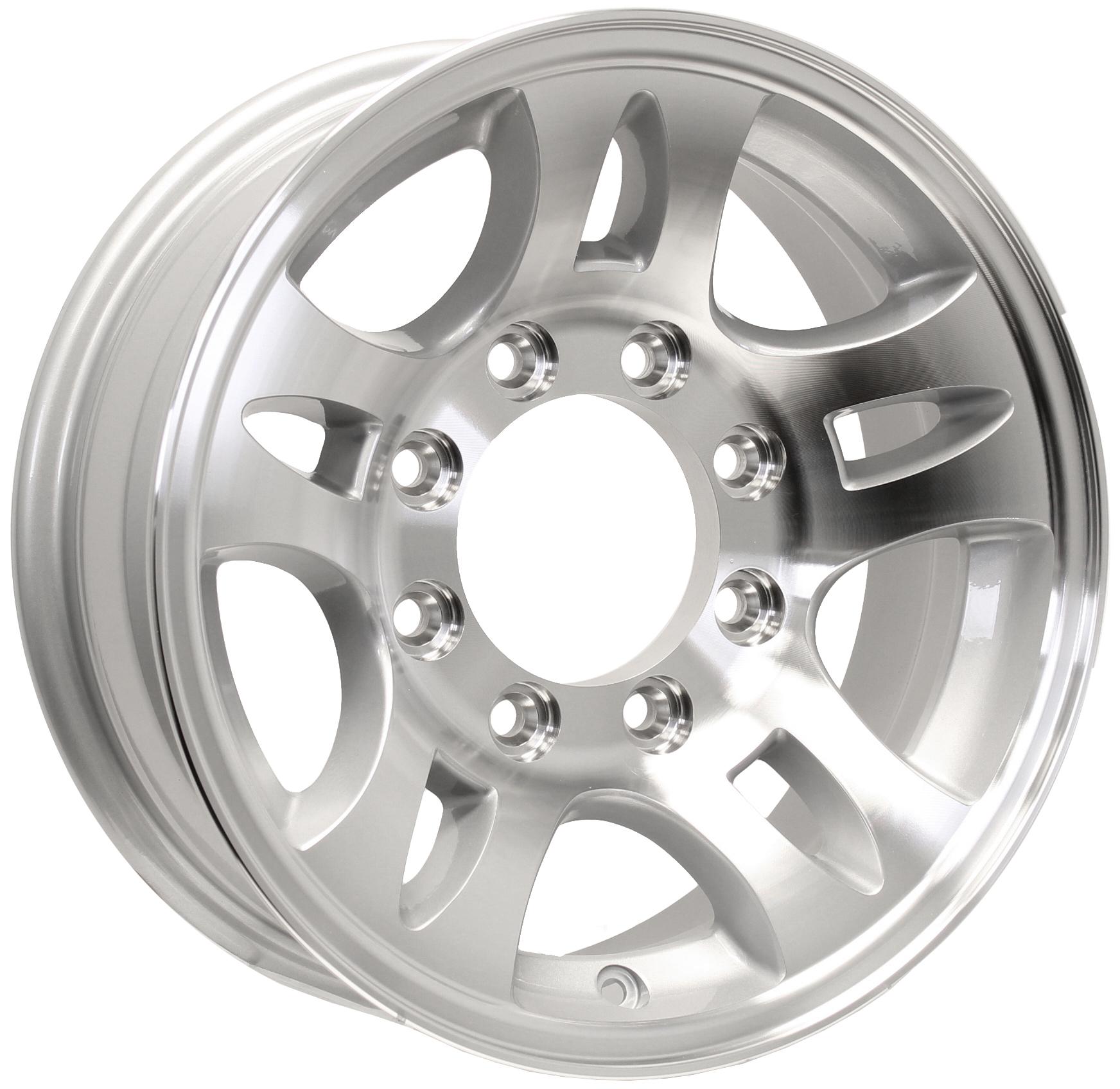 T03- 16x6; 8-Lug Silver Aluminum Trailer Wheel Image