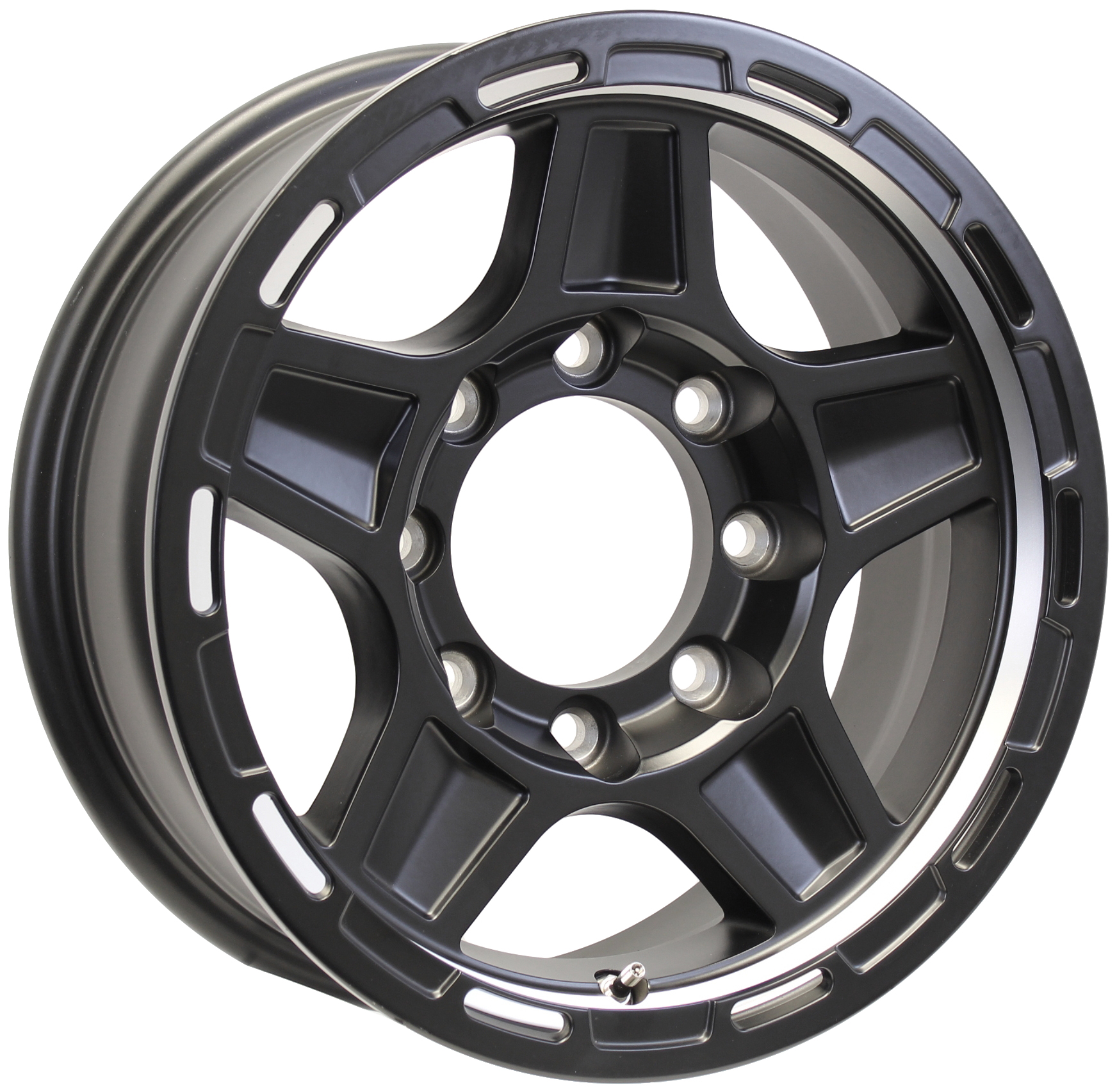 Hercules 16x7; 8-Lug Matte Black Aluminum Trailer Wheel Image