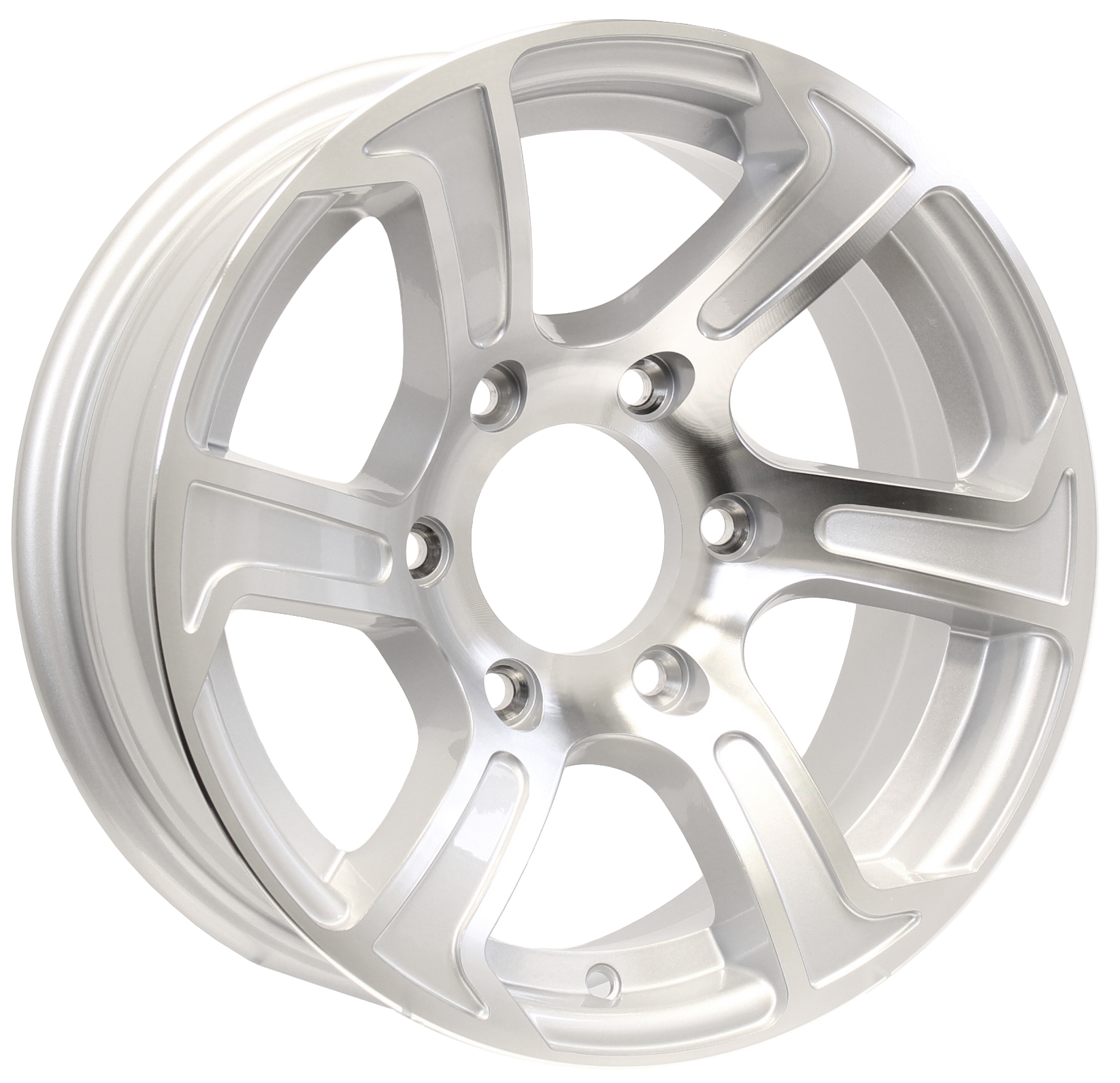 "Summit 15"" 6-Lug Silver Aluminum Trailer Wheel Image"