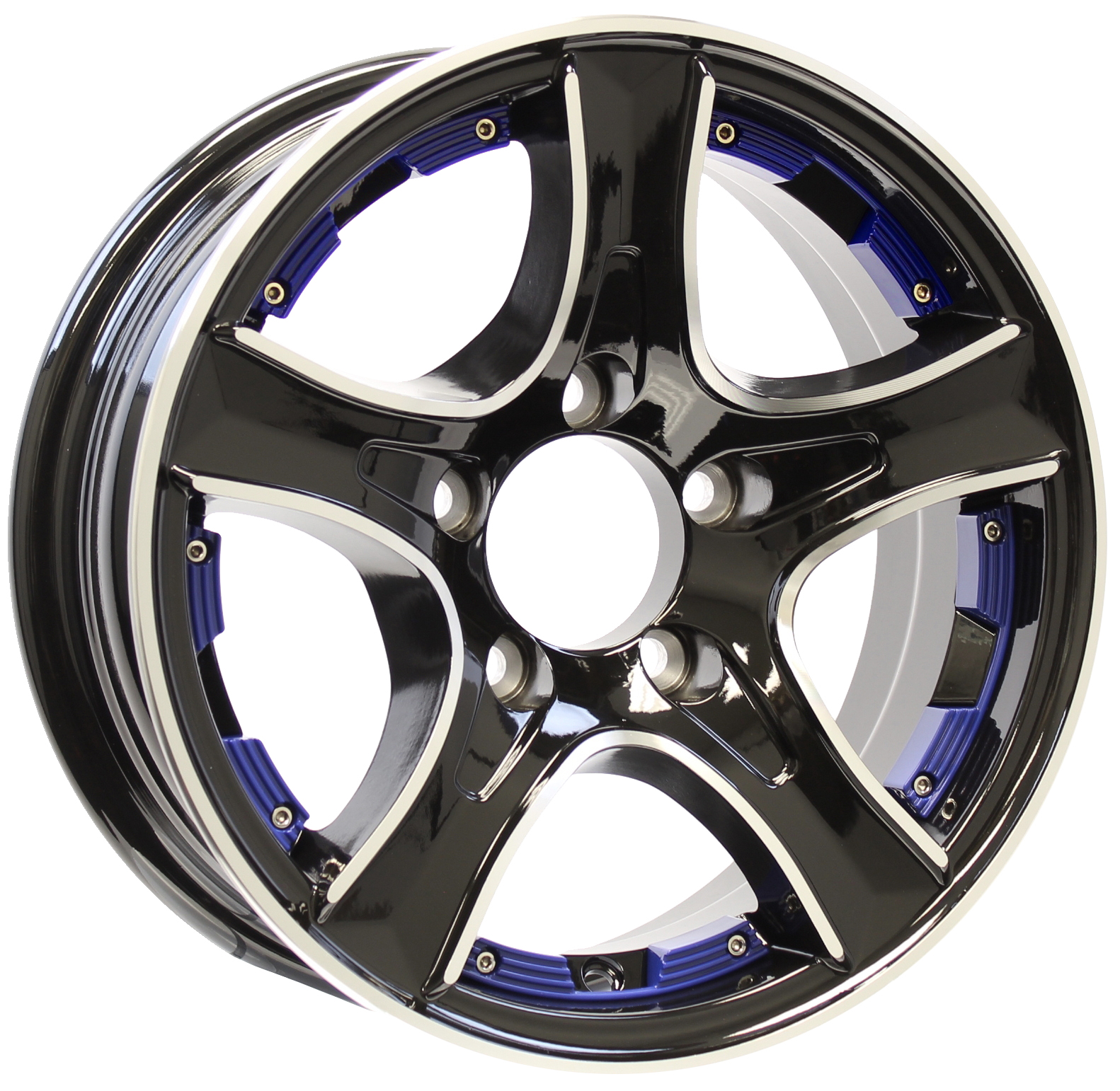 Thoroughbred 14x5.5 5-Lug Black Aluminum Trailer Wheel with Blue Inserts Image