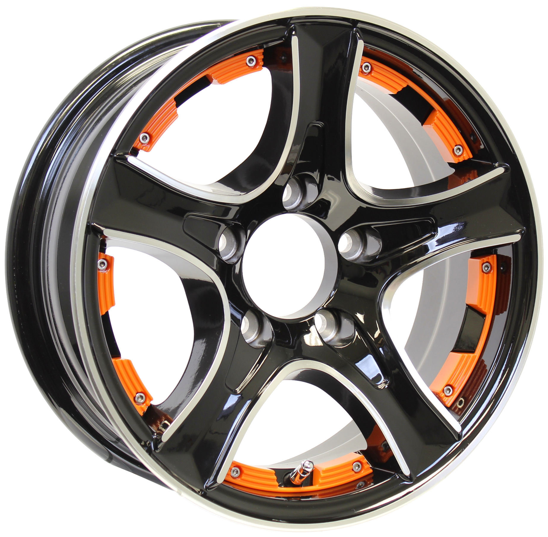 Thoroughbred 14x5.5 5-Lug Black Aluminum Trailer Wheel with Orange Inserts Image