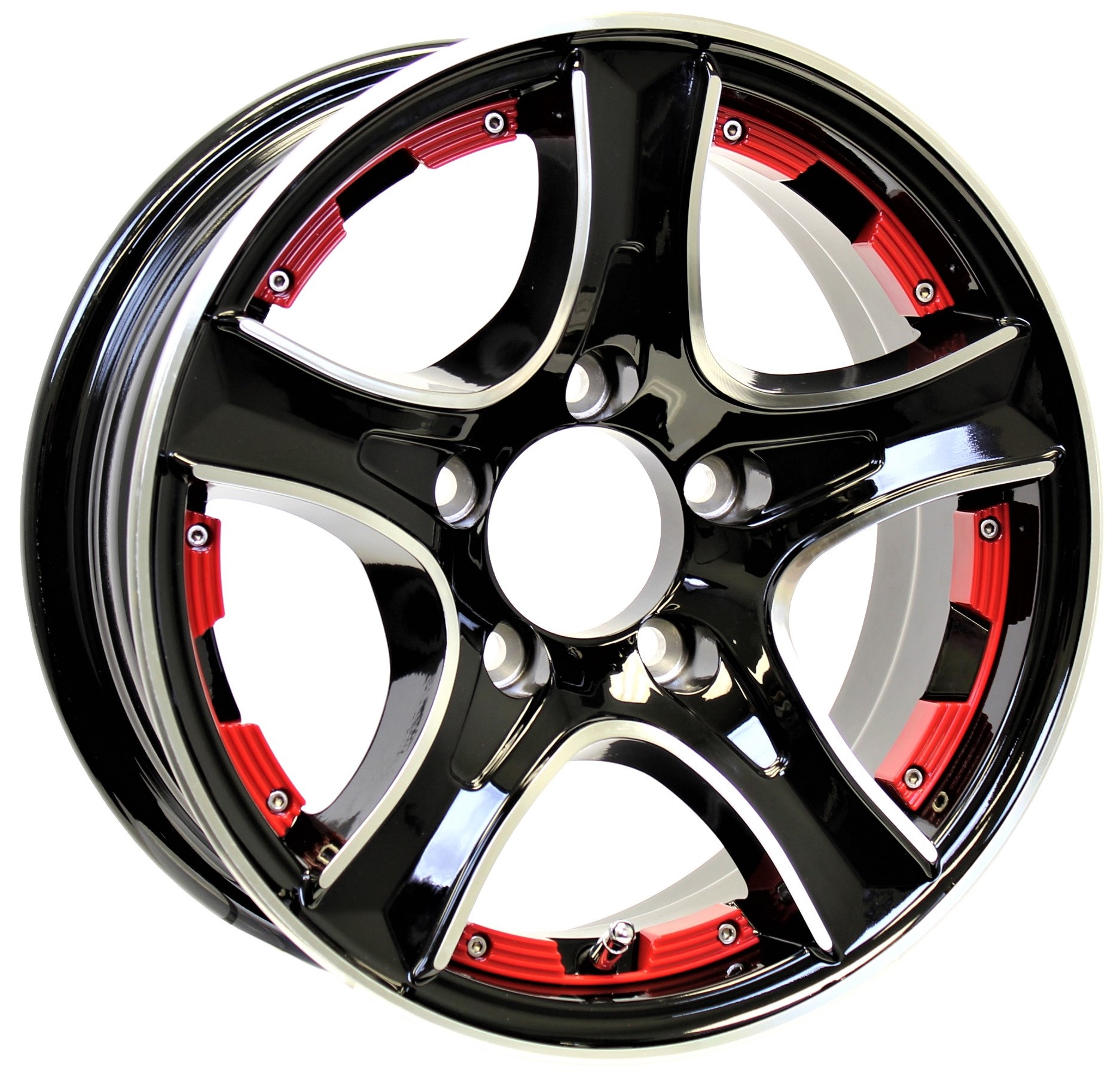Thoroughbred 14x5.5 5-Lug Black Aluminum Trailer Wheel with Red Inserts Image