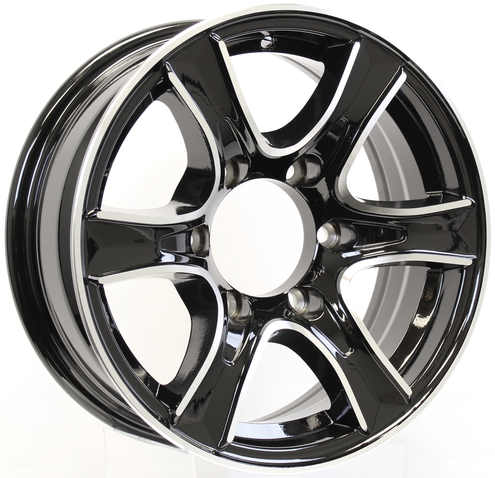 Thoroughbred- 15x6 6-Lug Black Aluminum Trailer Wheel Image