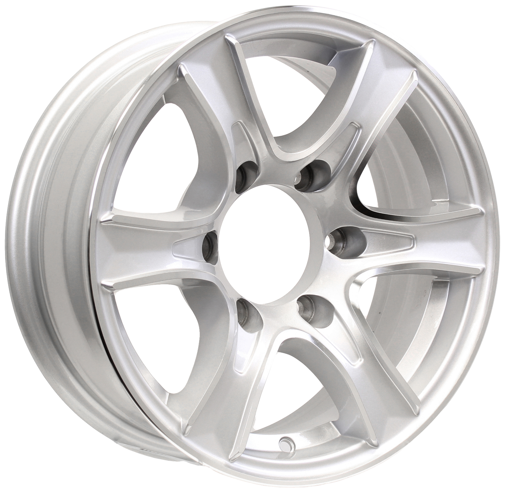 Thoroughbred- 15x6 6-Lug Silver Aluminum Trailer Wheel Image