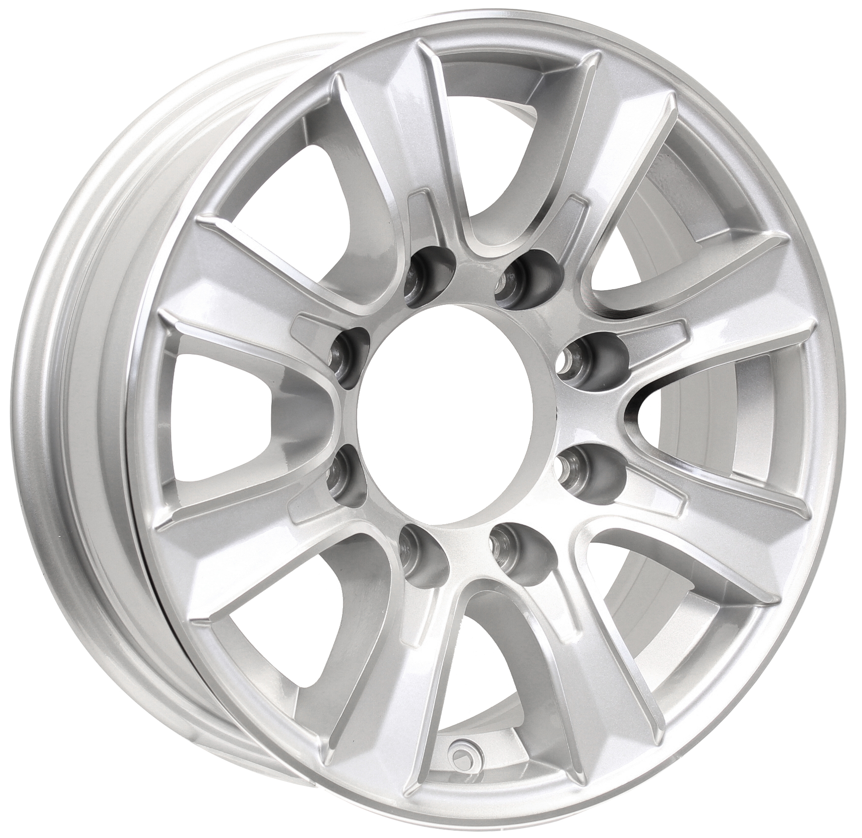 Thoroughbred 16x6; 8-Lug Silver Aluminum Trailer Wheel Image